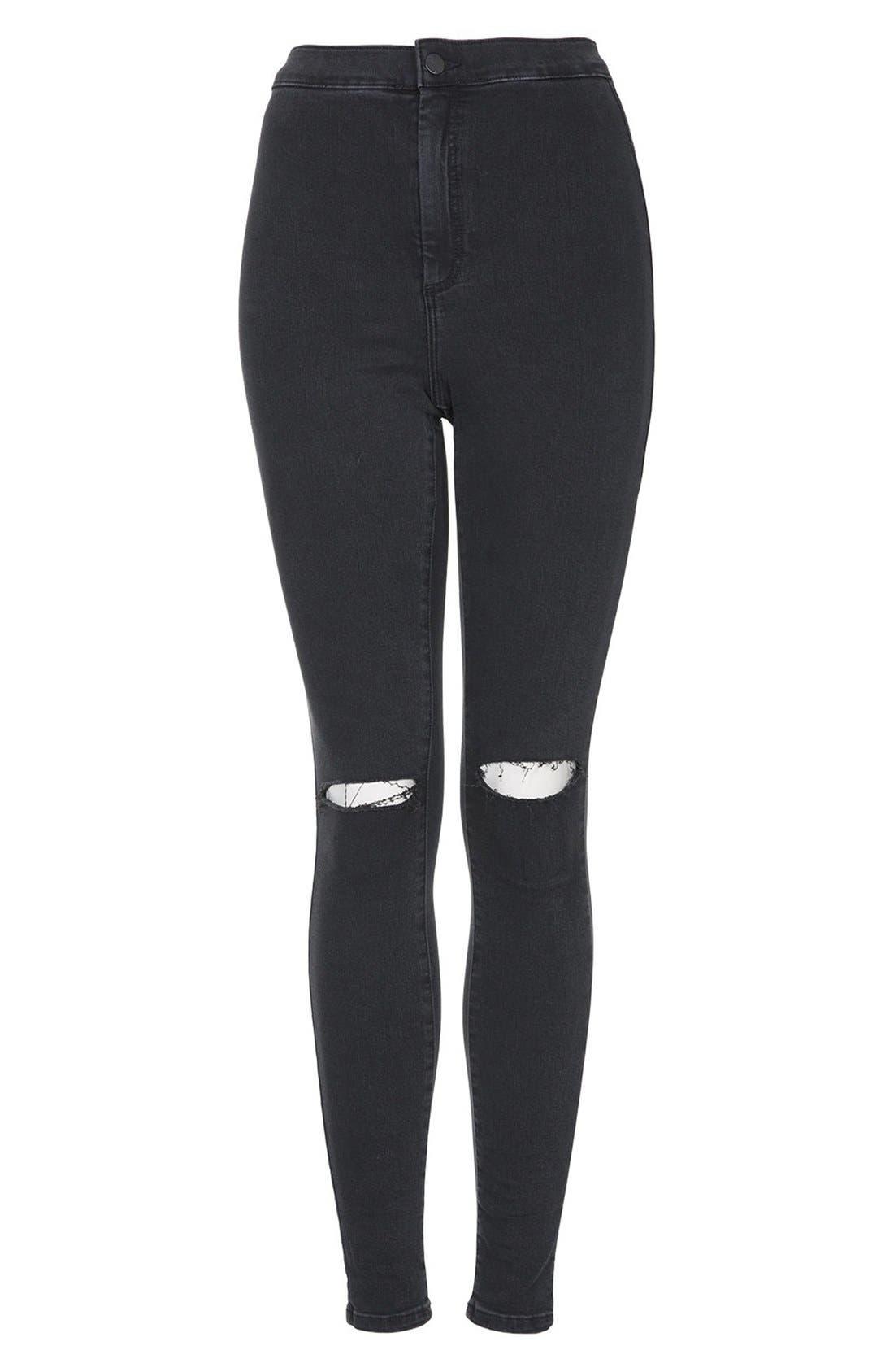 Alternate Image 3  - Topshop 'Joni' Ripped Skinny Jeans (Black)