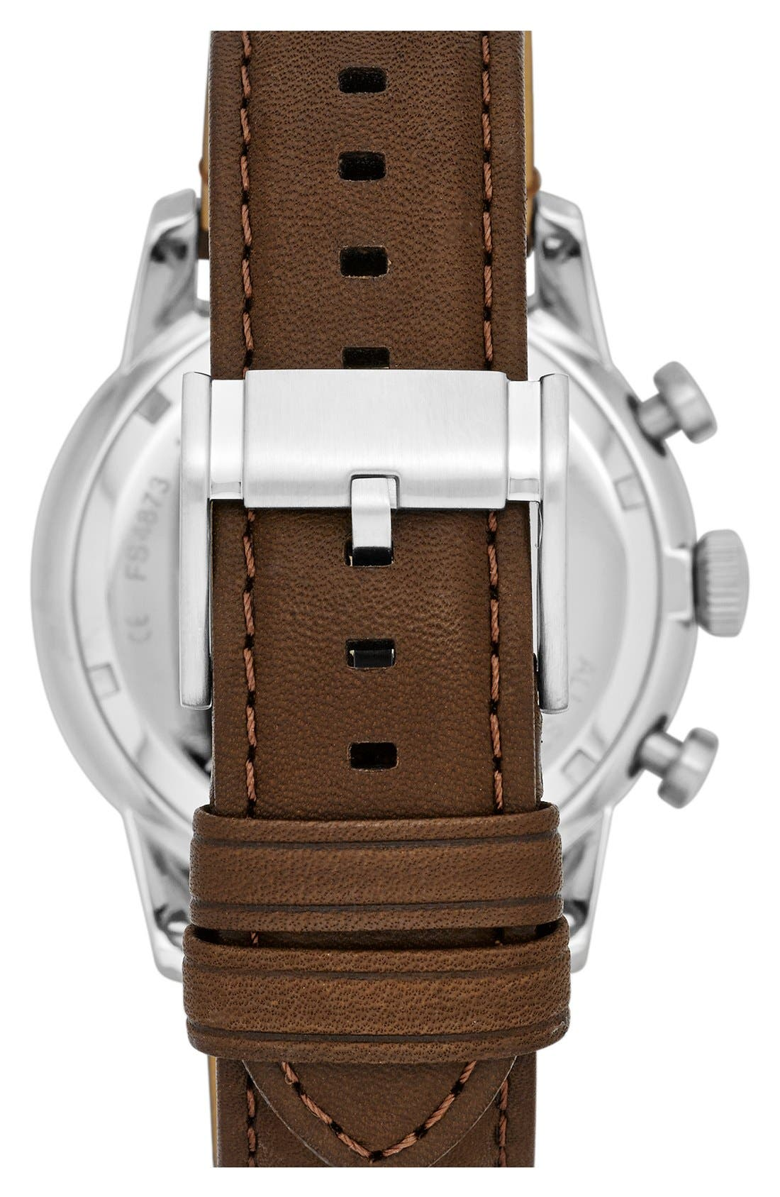 Alternate Image 2  - Fossil 'Townsman' Round Leather Strap Watch, 44mm