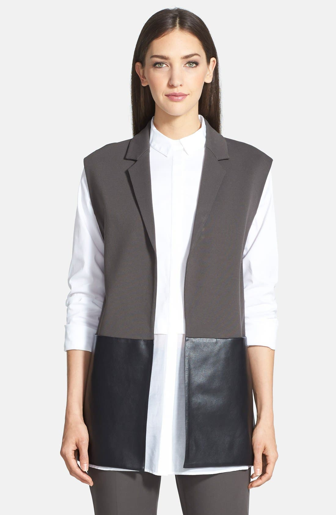 Alternate Image 1 Selected - Lafayette 148 New York Faux Leather & Punto Milano Vest