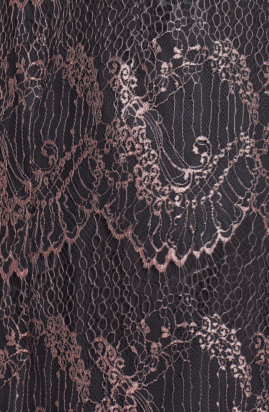 Alternate Image 4  - Adrianna Papell Metallic Scalloped Lace Shift Dress