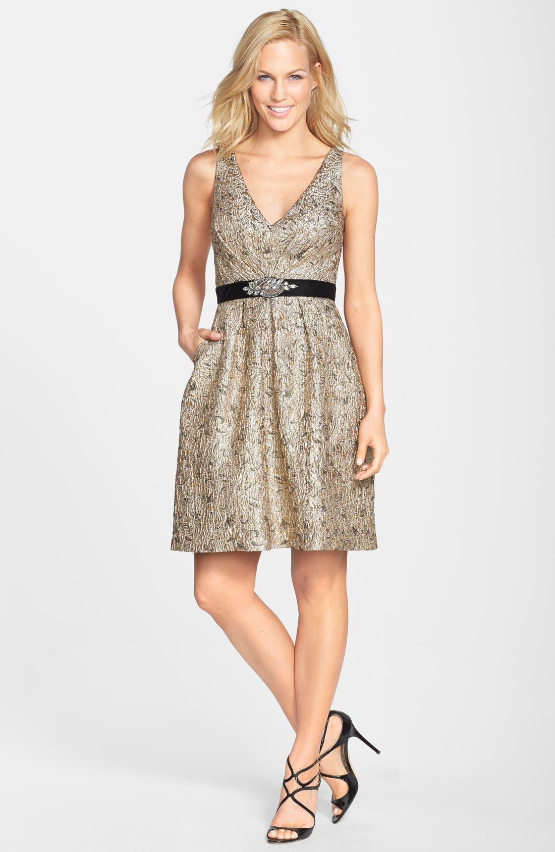 Alternate Image 3  - Aidan Mattox Embellished Waist Jacquard Fit & Flare Dress