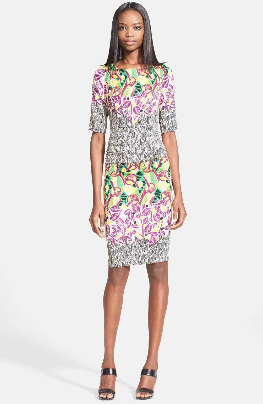 Alternate Image 1 Selected - Tracy Reese Mixed Print Stretch Silk T-Back Dress