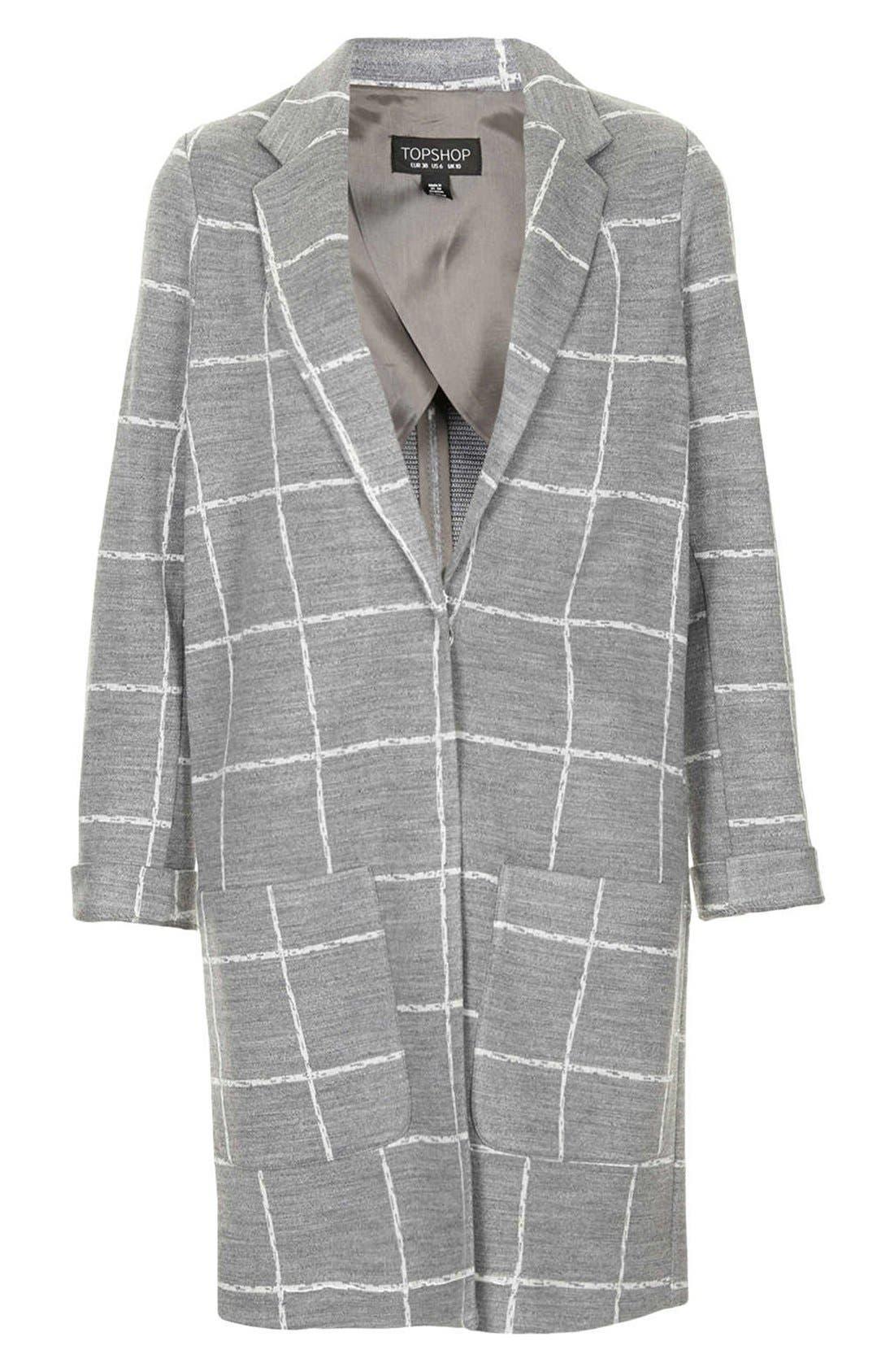 Alternate Image 3  - Topshop Grid Check Slim Coat