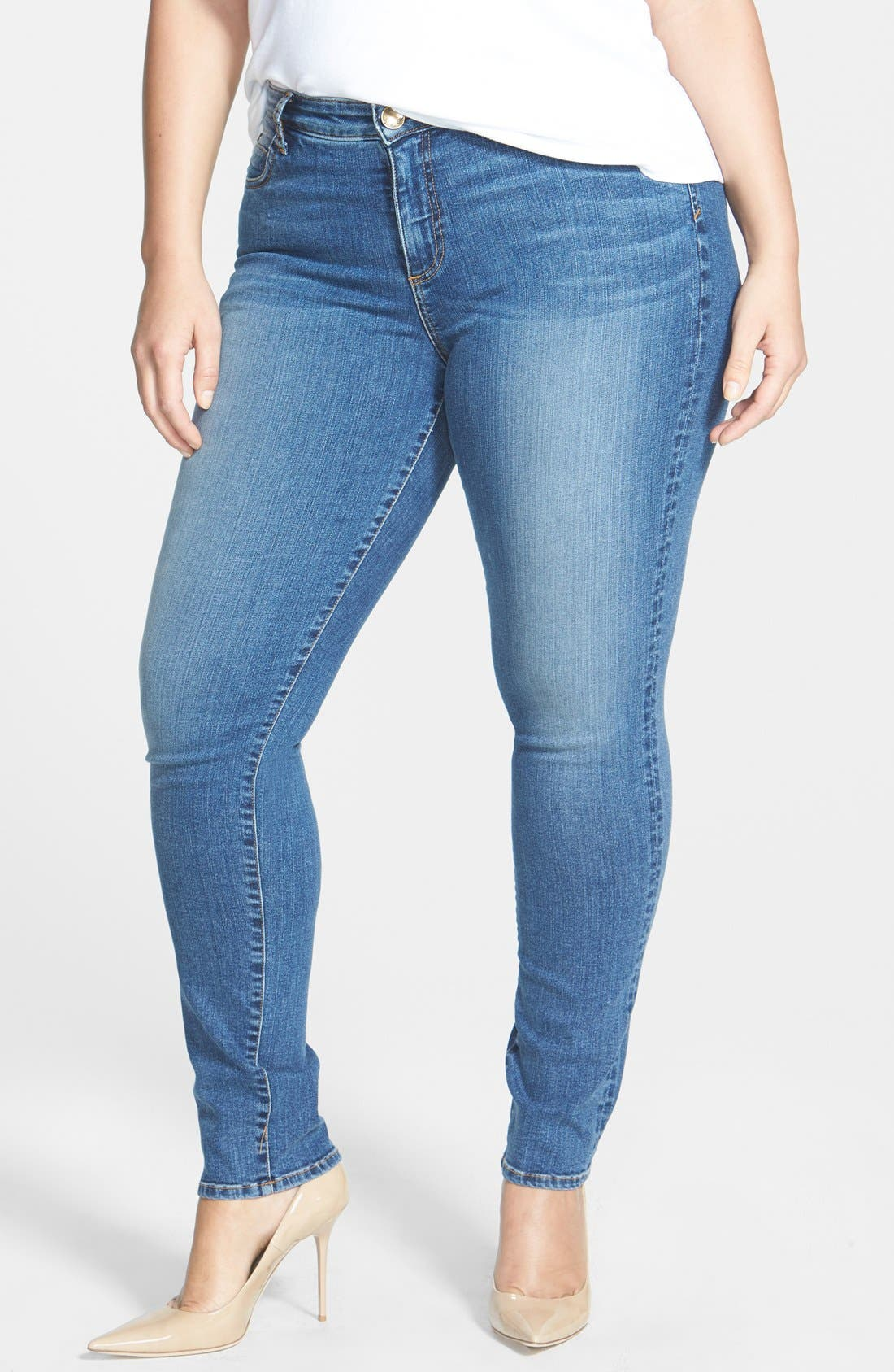 Alternate Image 1 Selected - KUT from the Kloth 'Diana' Stretch Skinny Jeans (Contingent) (Plus Size)
