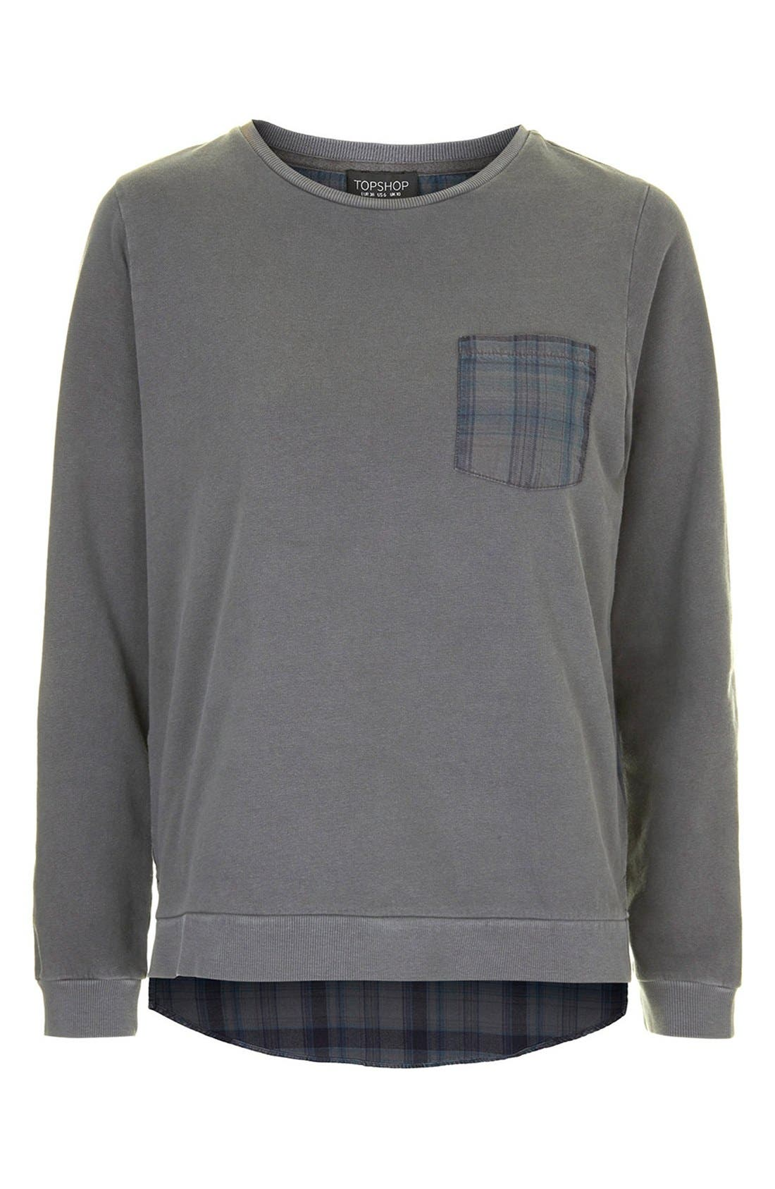 Alternate Image 3  - Topshop Check Contrast Sweater