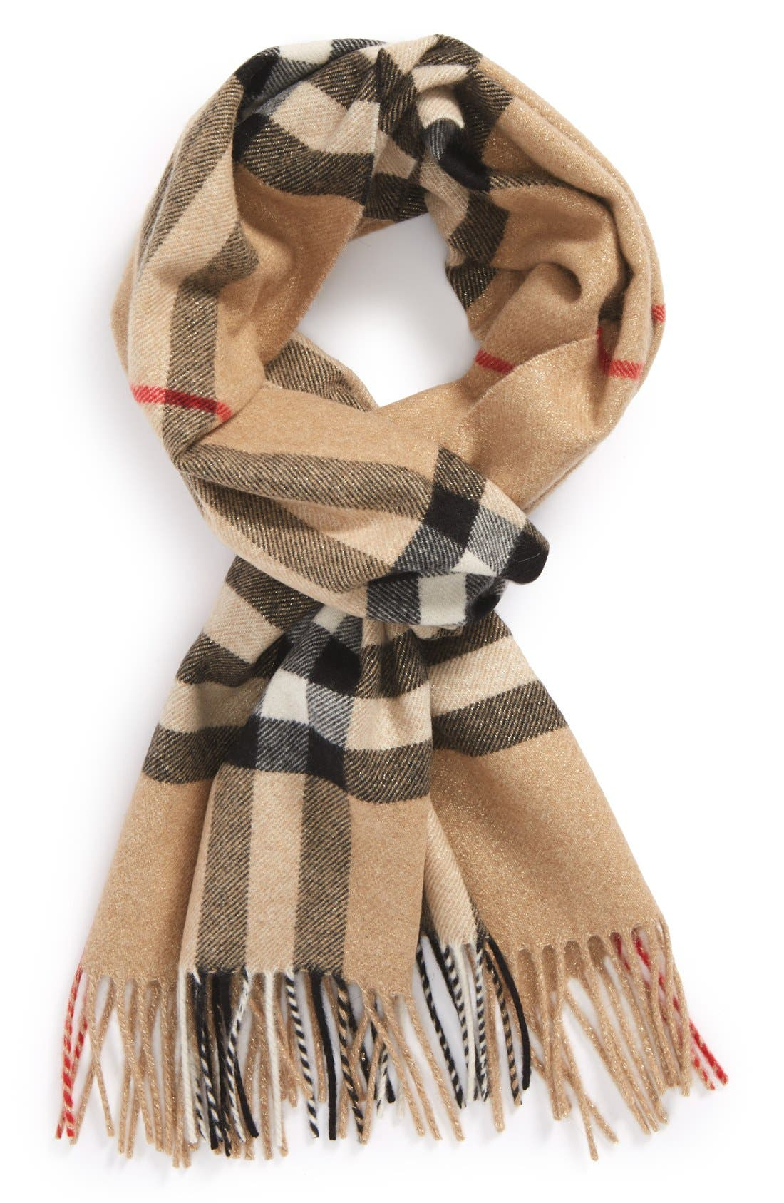Main Image - Burberry Giant Check Cashmere Blend Scarf