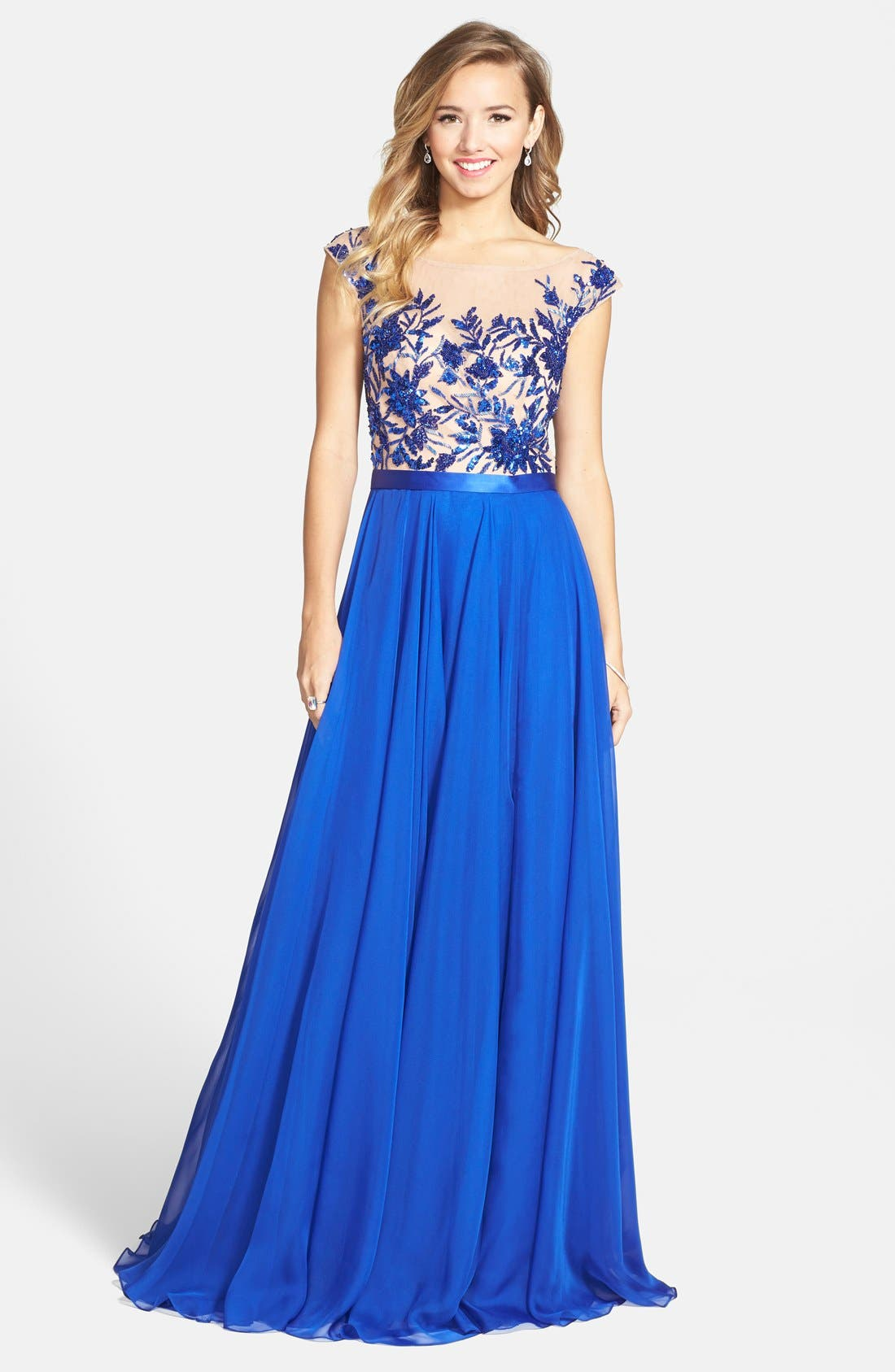 Alternate Image 1 Selected - Sherri Hill Embellished Illusion Gown