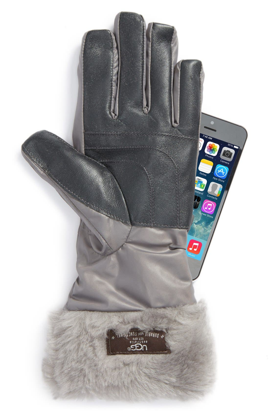 Alternate Image 2  - UGG® Australia Tech Gloves with Genuine Shearling Trim