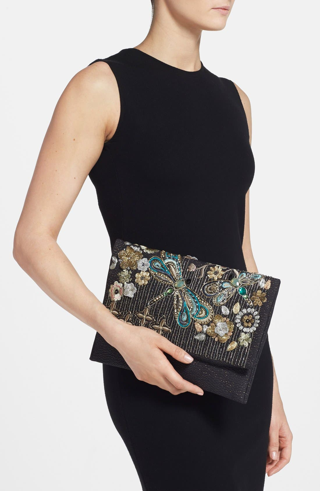 Alternate Image 2  - Berry Beaded Dragonfly Oversize Clutch