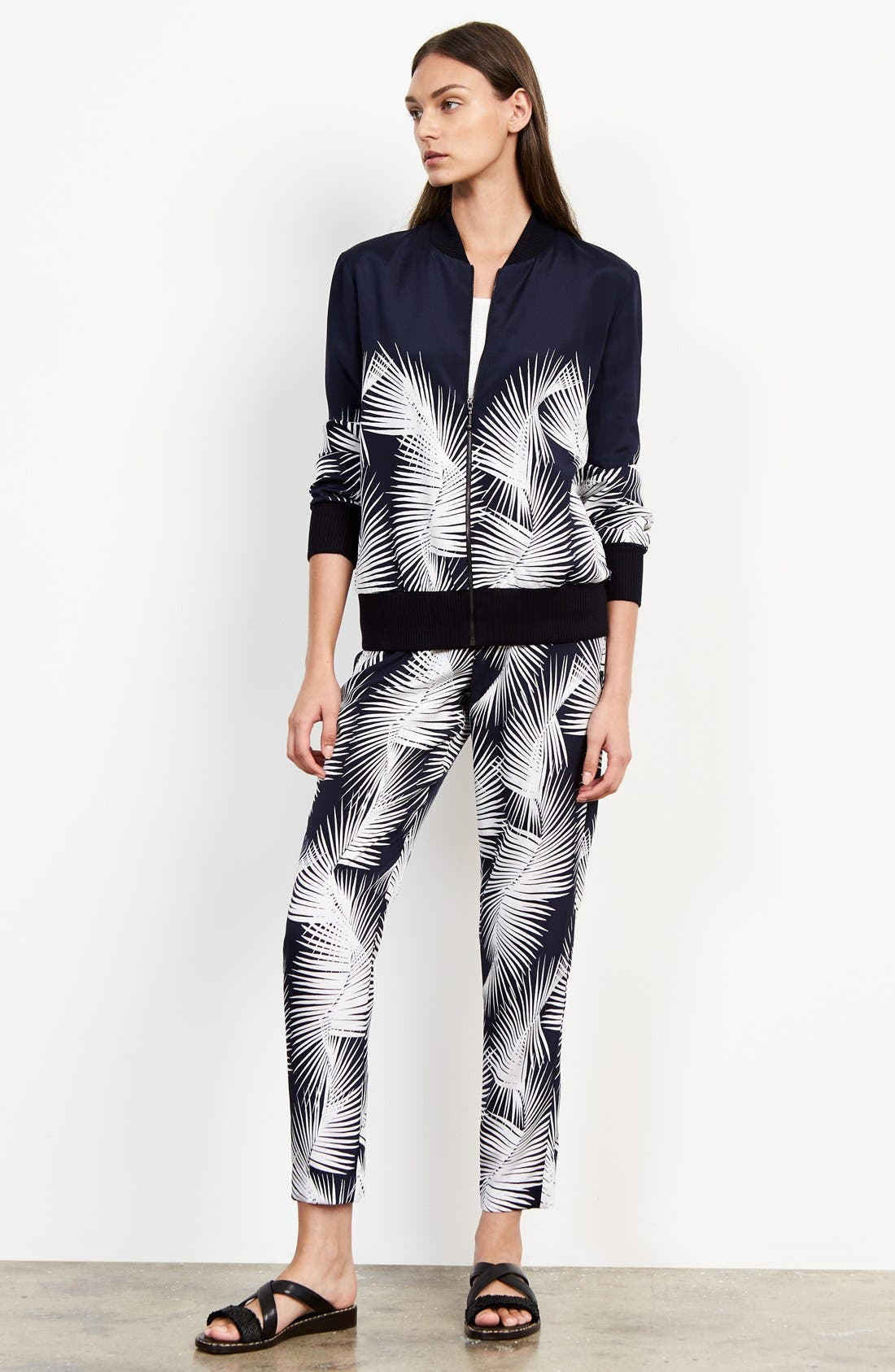 Alternate Image 2  - St. John Sport Collection Palm Print Stretch Silk Pants