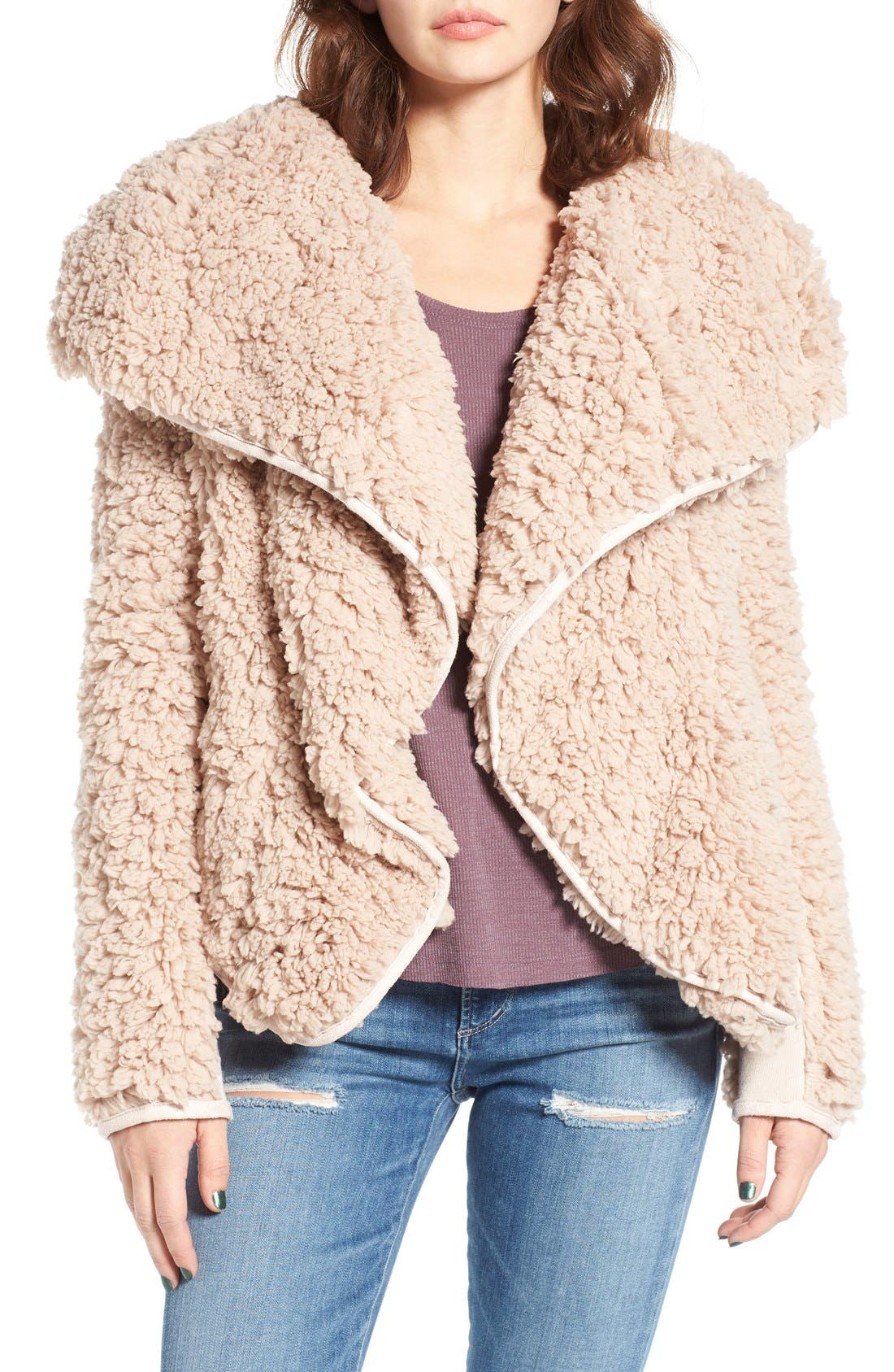 Main Image - Coffee Shop Whubby Draped Faux Fur Jacket