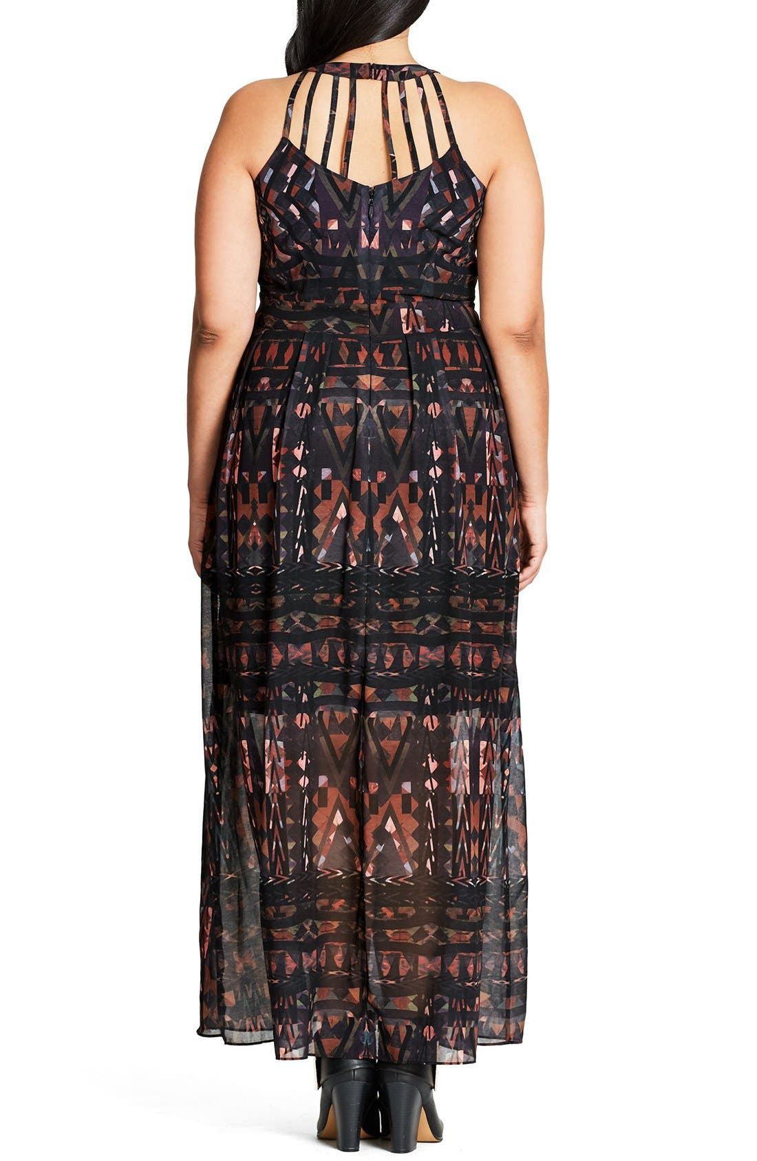 Alternate Image 2  - City Chic So Abstract Cutout Bodice Maxi Dress (Plus Size)