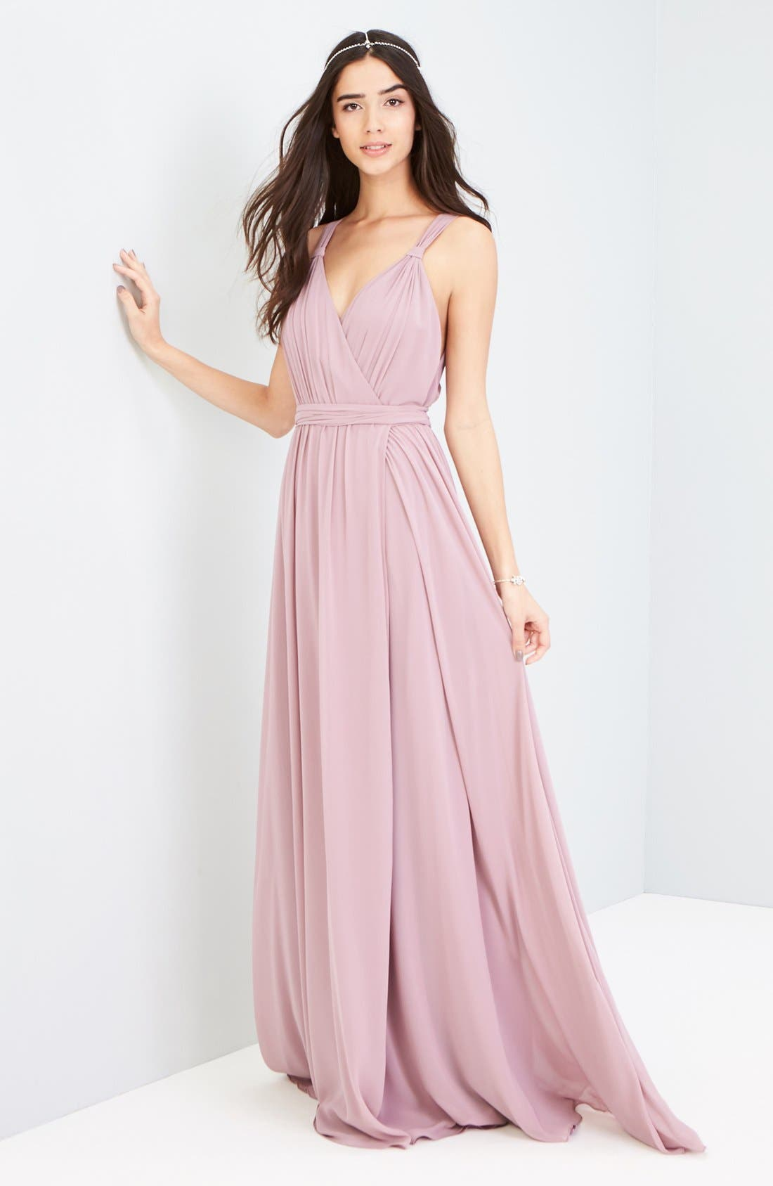 Alternate Image 2  - Ceremony by Joanna August Knot Strap Chiffon Wrap Gown