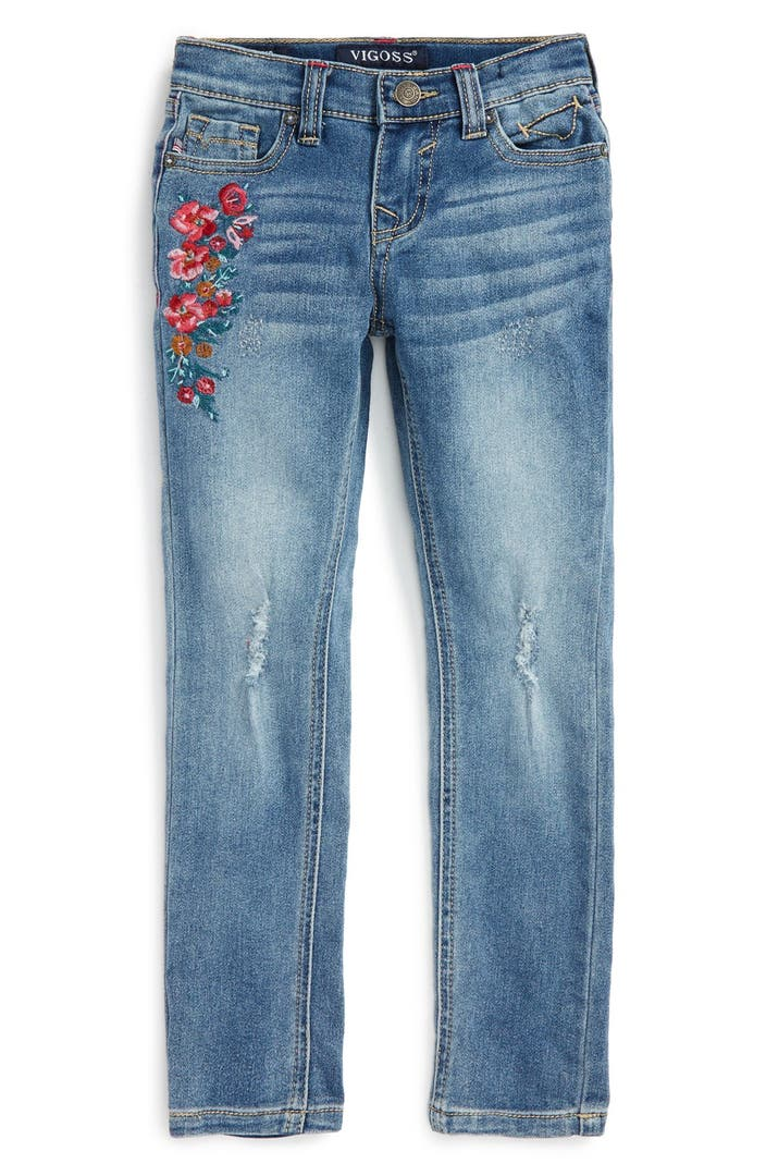 Vigoss floral bouquet embroidered jeans toddler girls