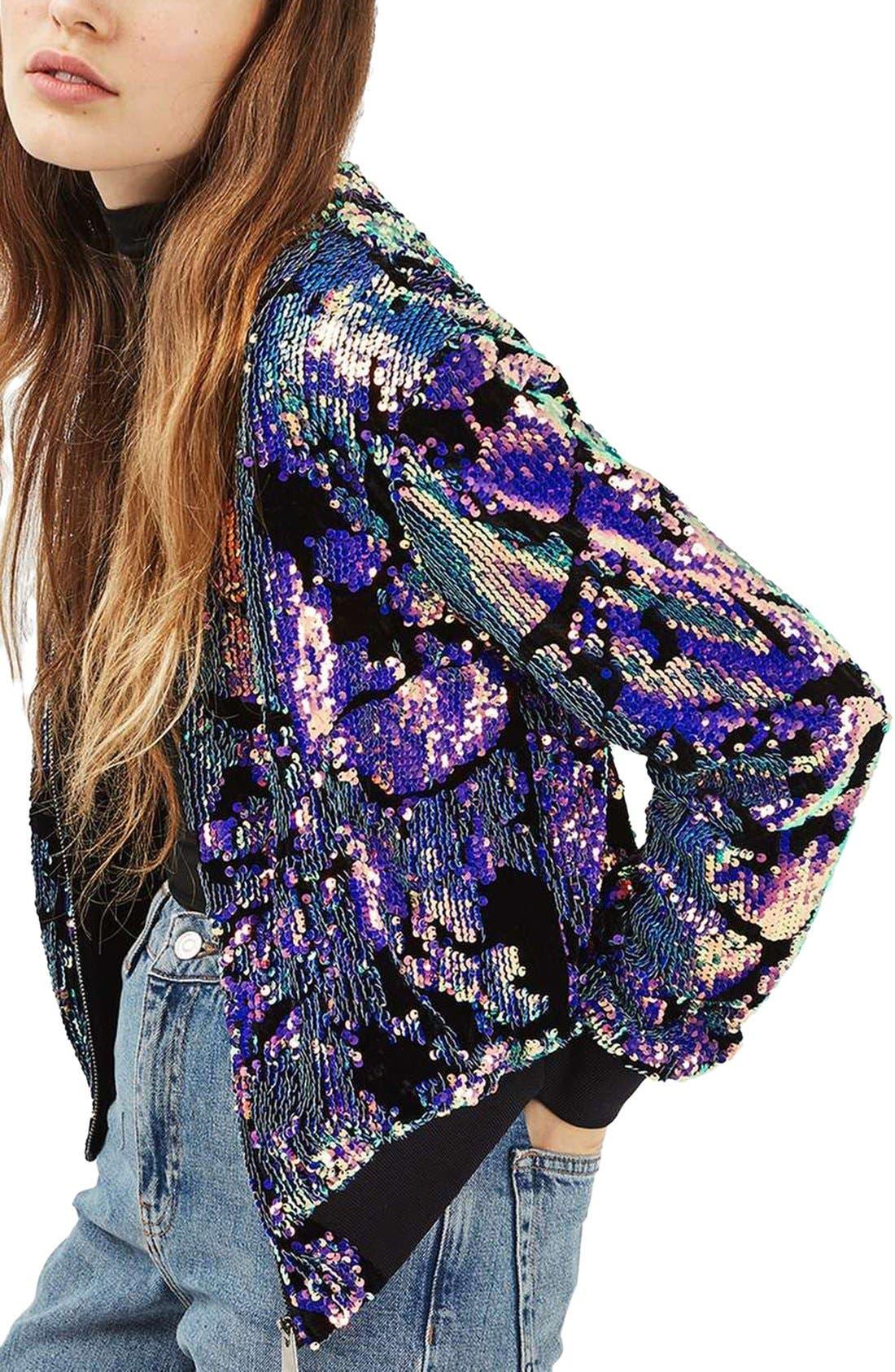 Alternate Image 1 Selected - Topshop Ariel Sequin Velvet Bomber Jacket