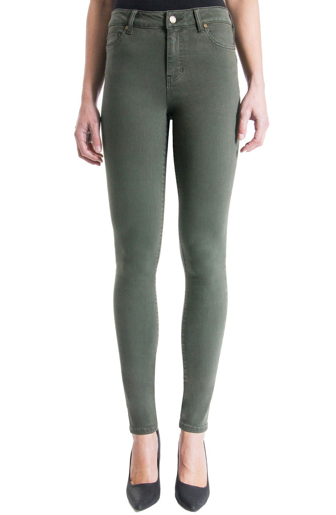 Alternate Image 1 Selected - Liverpool Jeans Company 'The Hugger Aiden' Stretch Skinny Jeans (Cypress Dark Olive)