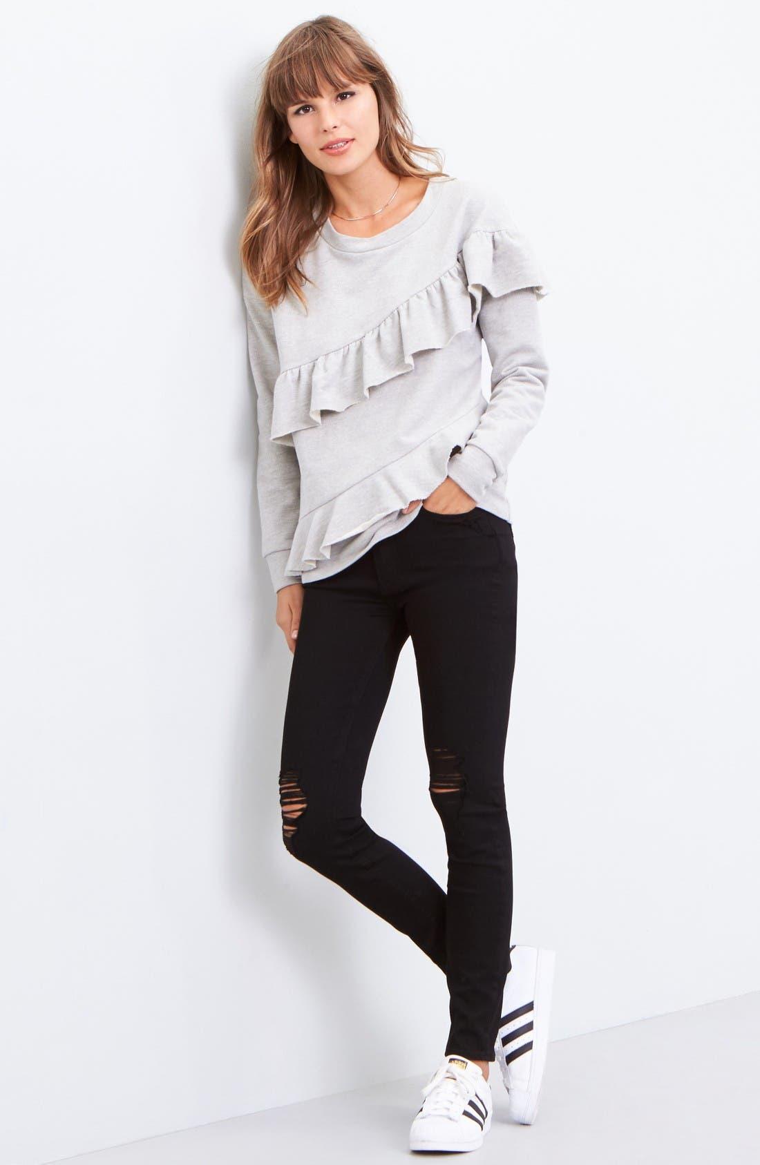 Alternate Image 2  - Pleione French Terry Ruffle Sweatshirt (Regular & Petite)