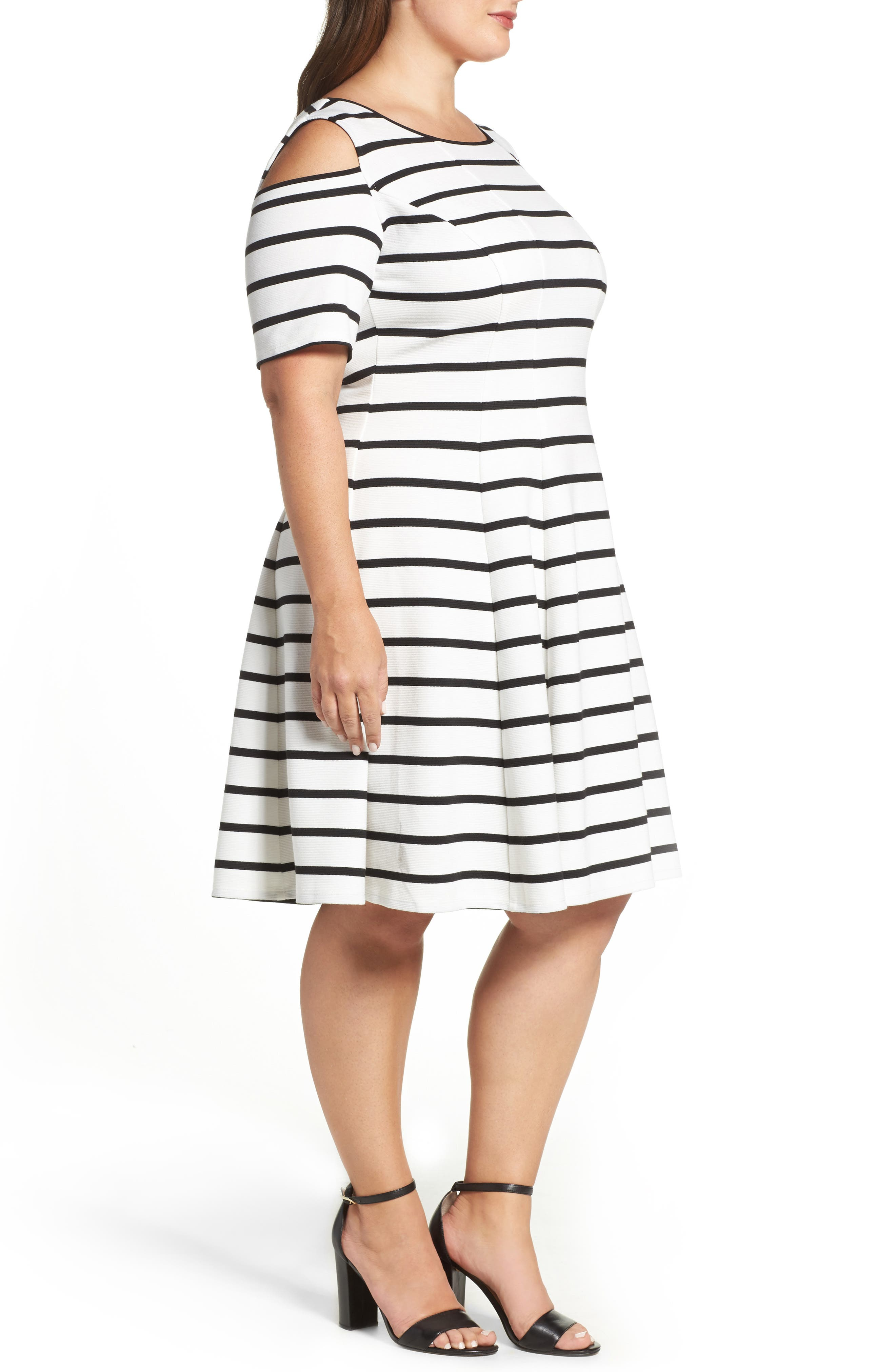 Alternate Image 3  - Gabby Skye Cold Shoulder Fit & Flare Dress (Plus Size)