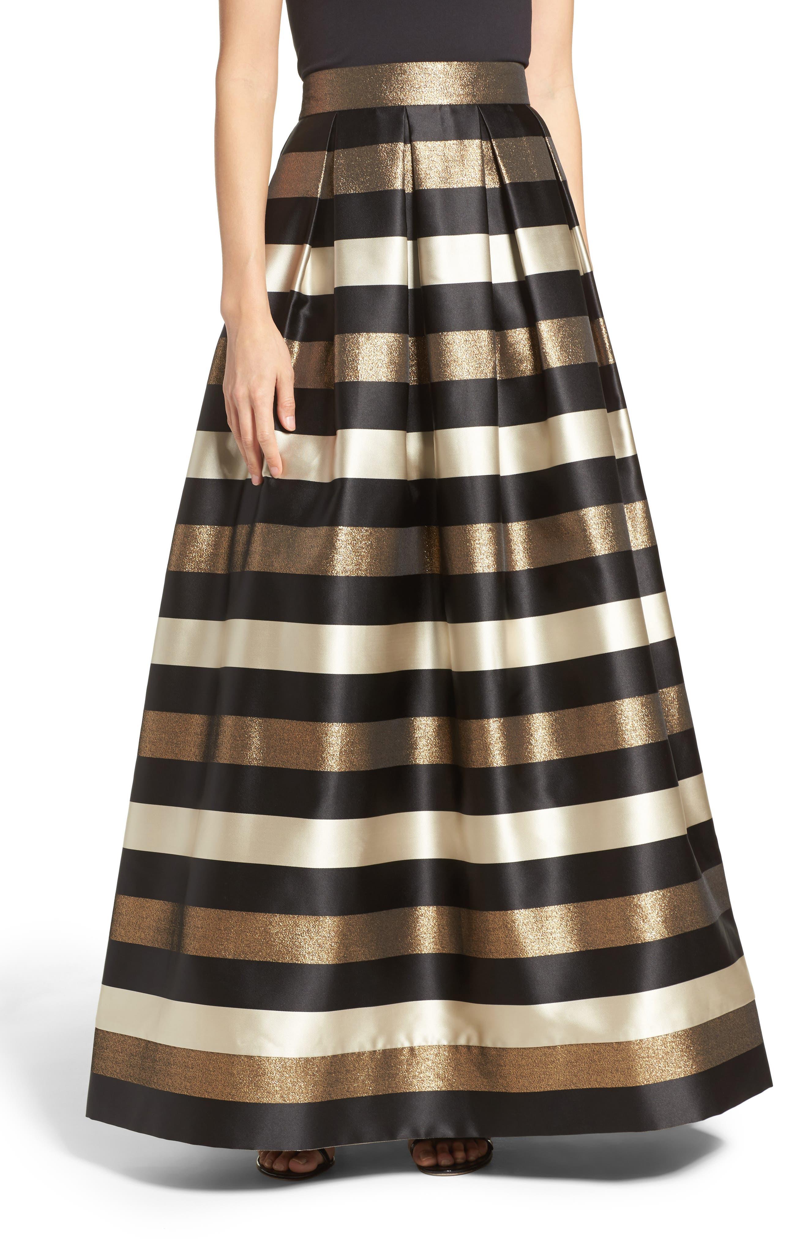 Main Image - Eliza J Metallic Stripe Ball Skirt
