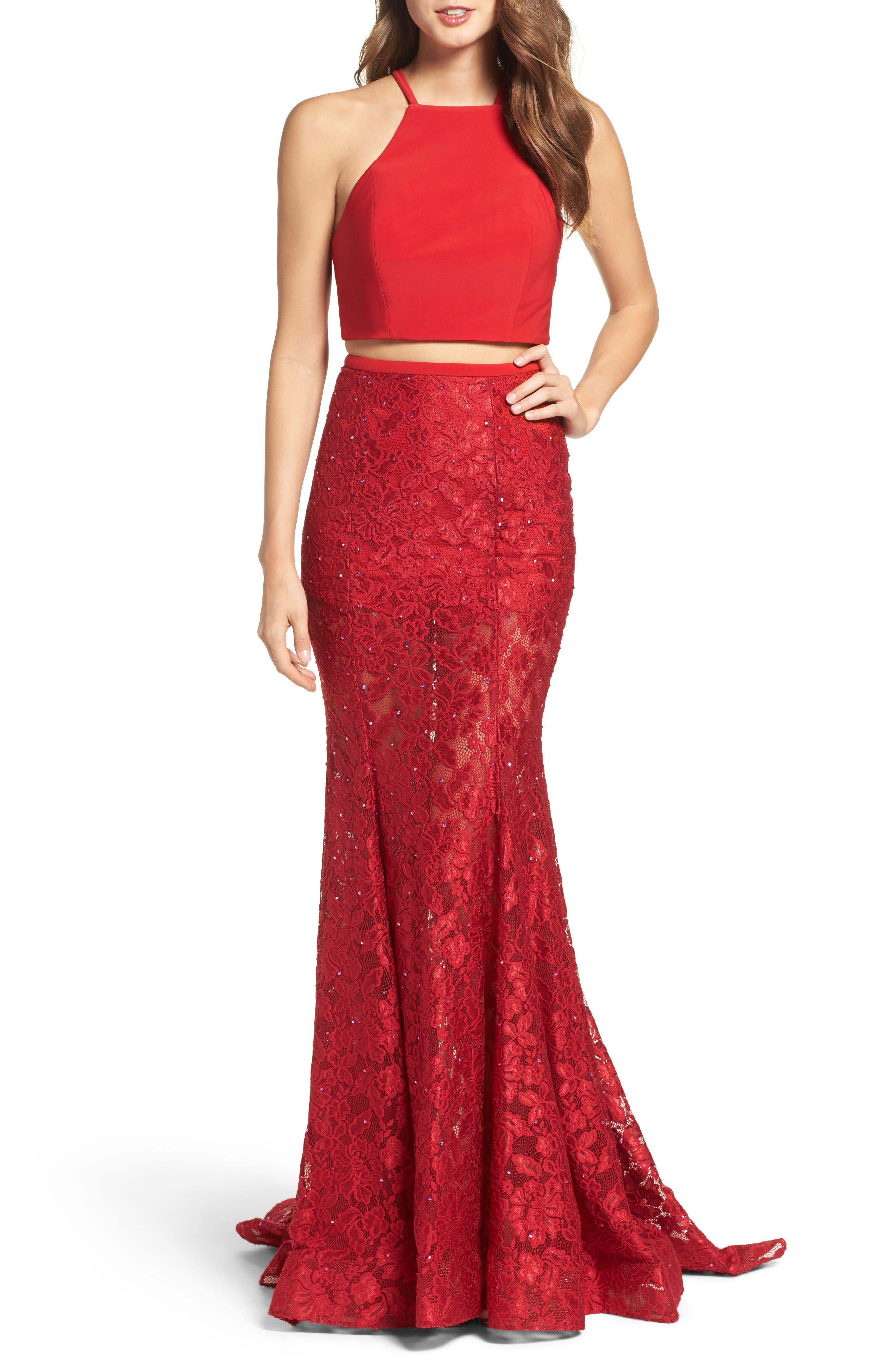 LA FEMME Jersey & Lace Two-Piece Gown