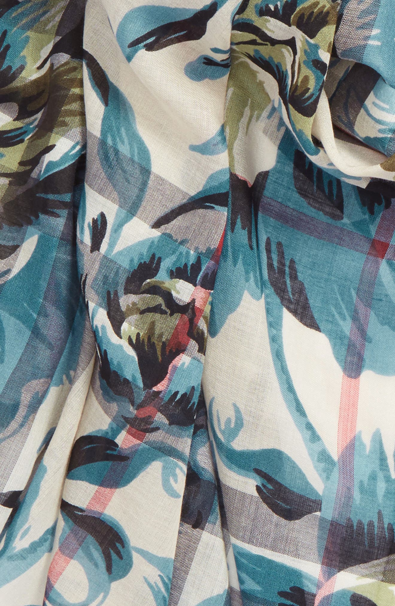 Alternate Image 3  - Burberry Floral Print Wool & Silk Scarf