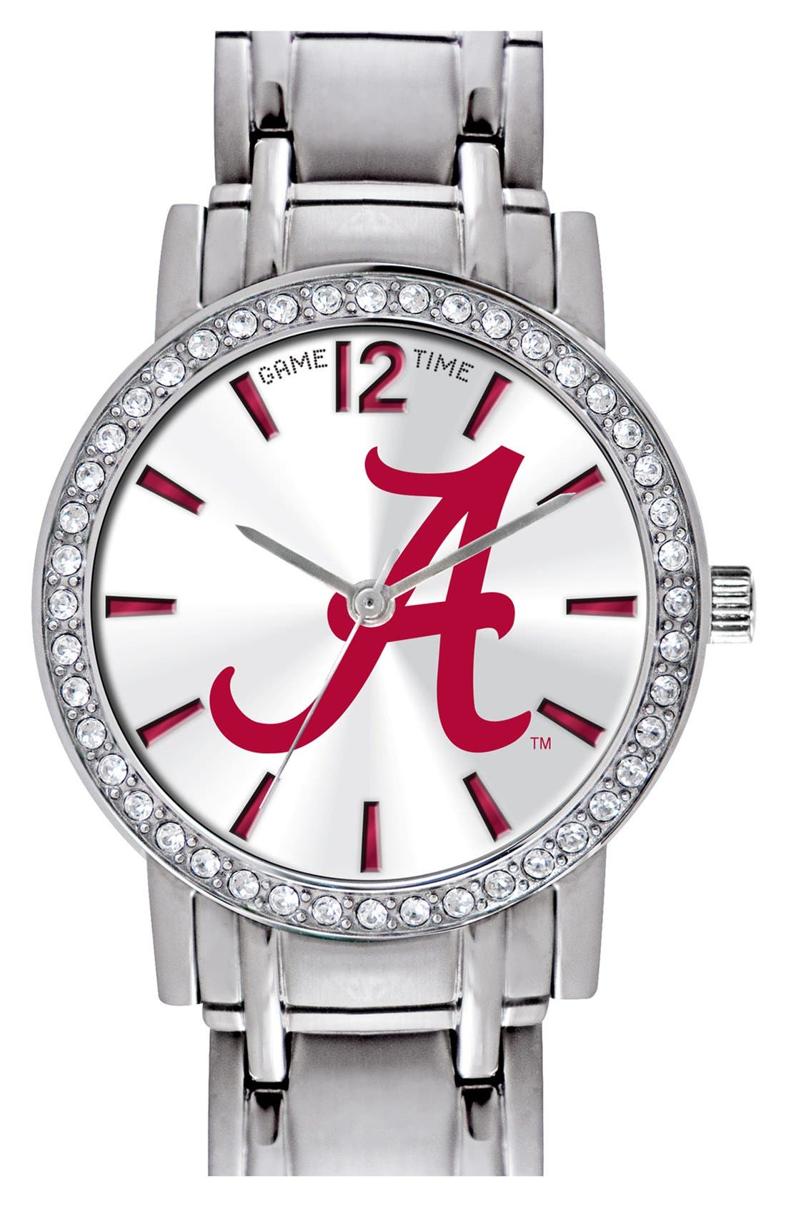 Main Image - Game Time Watches 'College All Star - University of Alabama' Crystal Bezel Bracelet Watch, 32mm
