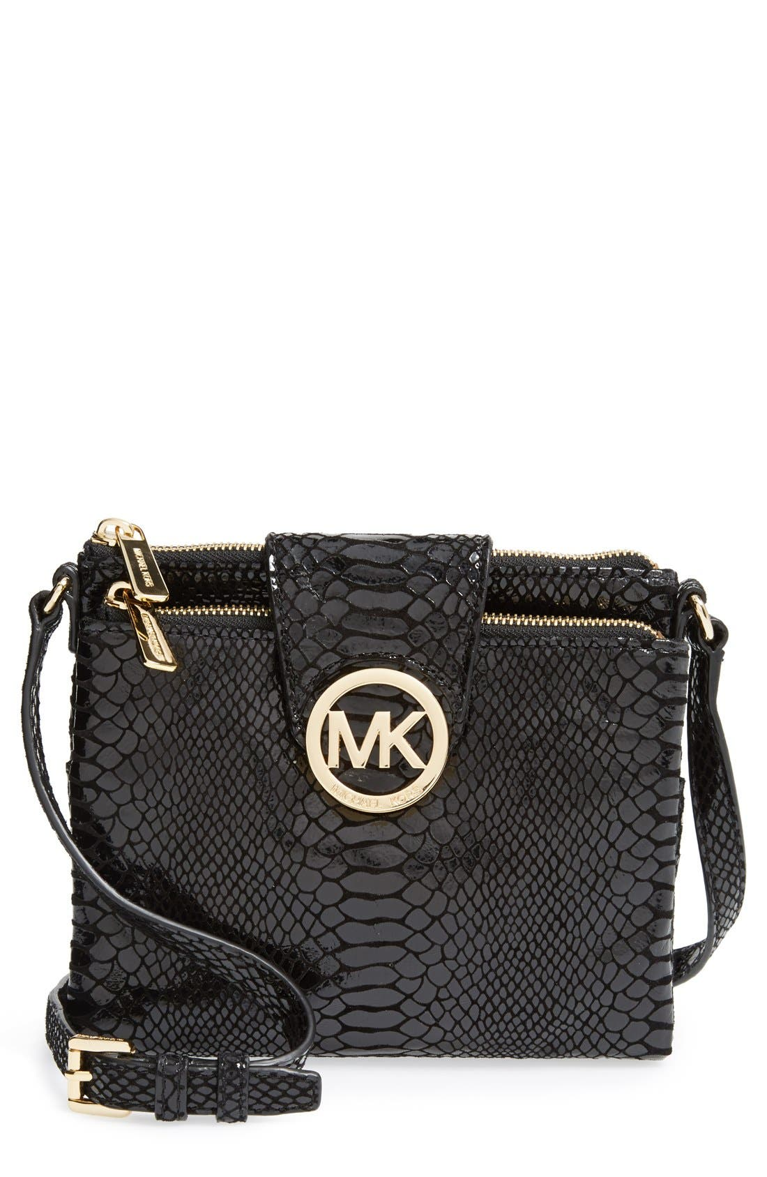 Main Image - MICHAEL Michael Kors 'Large Fulton' Embossed Patent Crossbody Bag