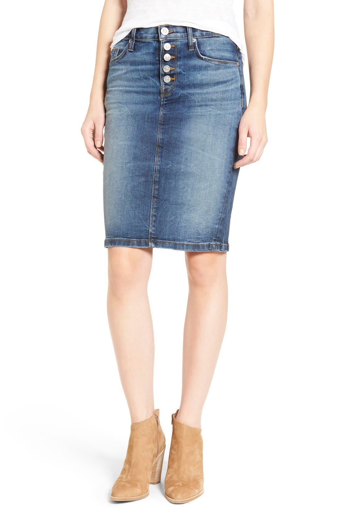 Hudson Jeans Helena Denim Skirt (Confederat)