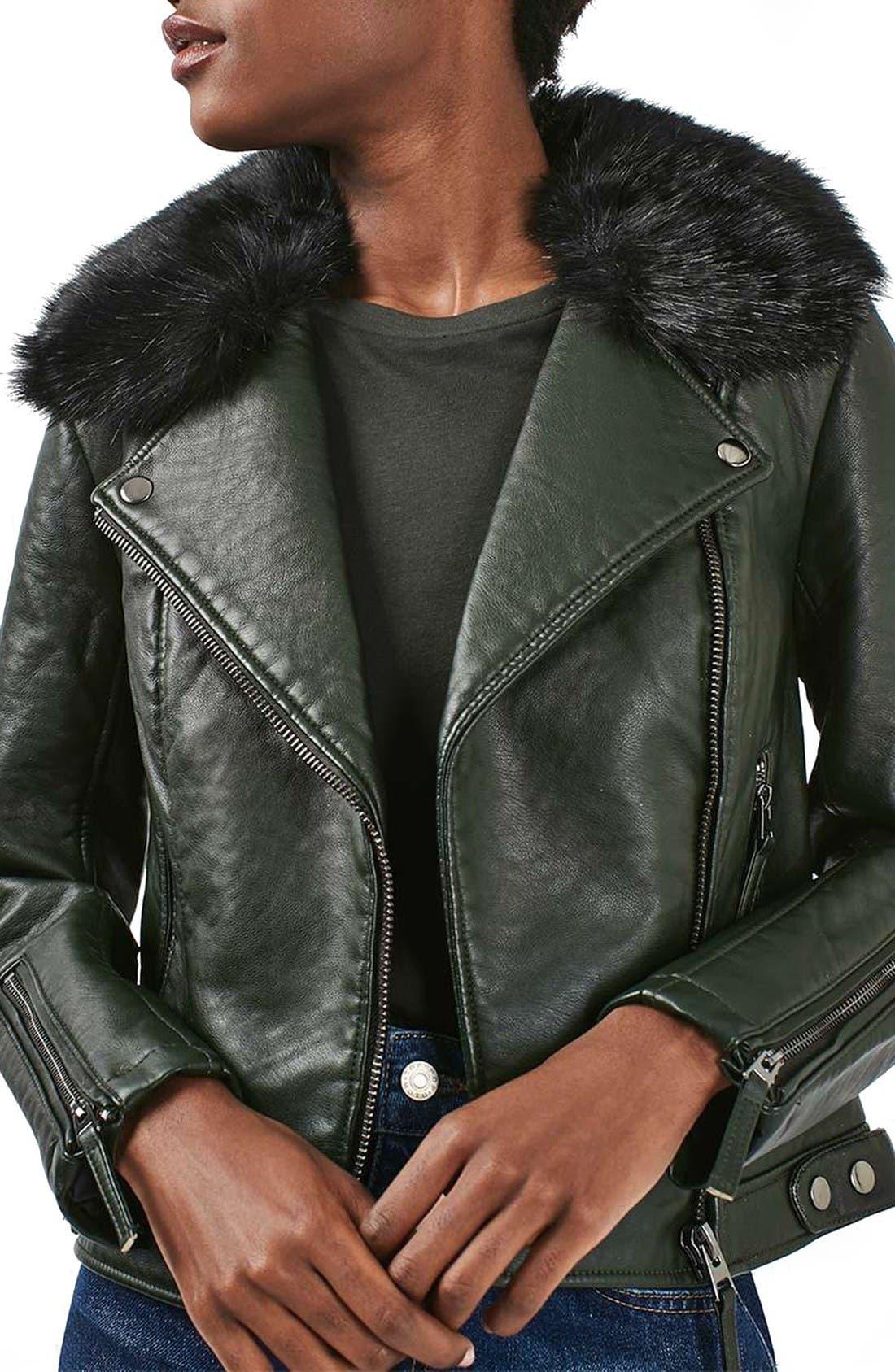 Main Image - Topshop 'Honey' Faux Fur Collar Faux Leather Moto Jacket