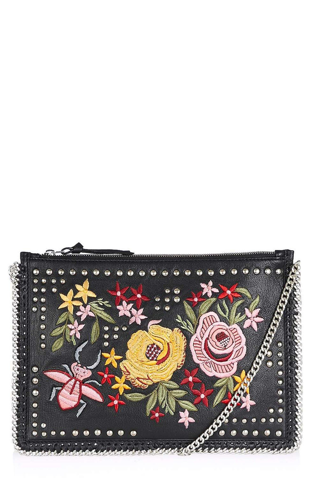 Alternate Image 1 Selected - Topshop Oto Embroidered Crossbody