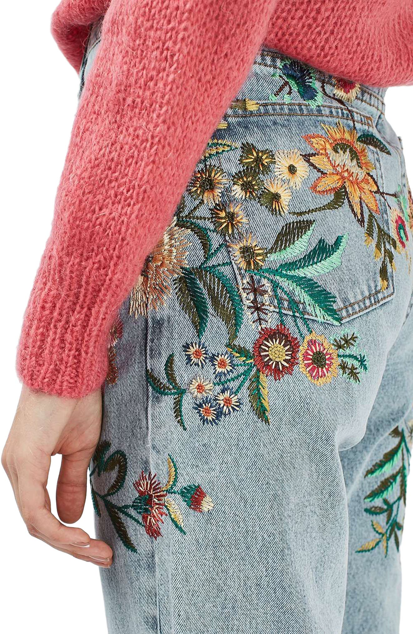 Alternate Image 5  - Topshop Mom Embroidered Jeans