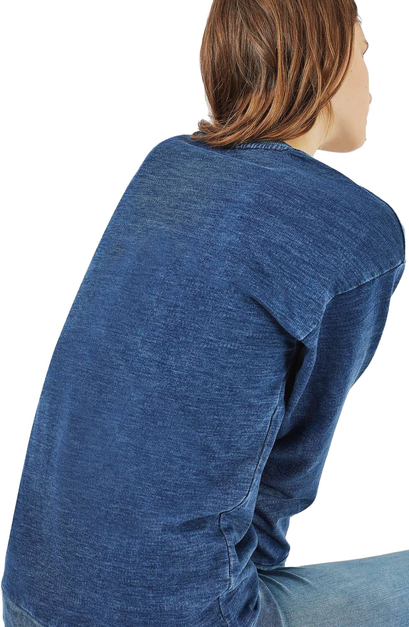 Alternate Image 2  - Topshop Denim Patchwork Sweatshirt