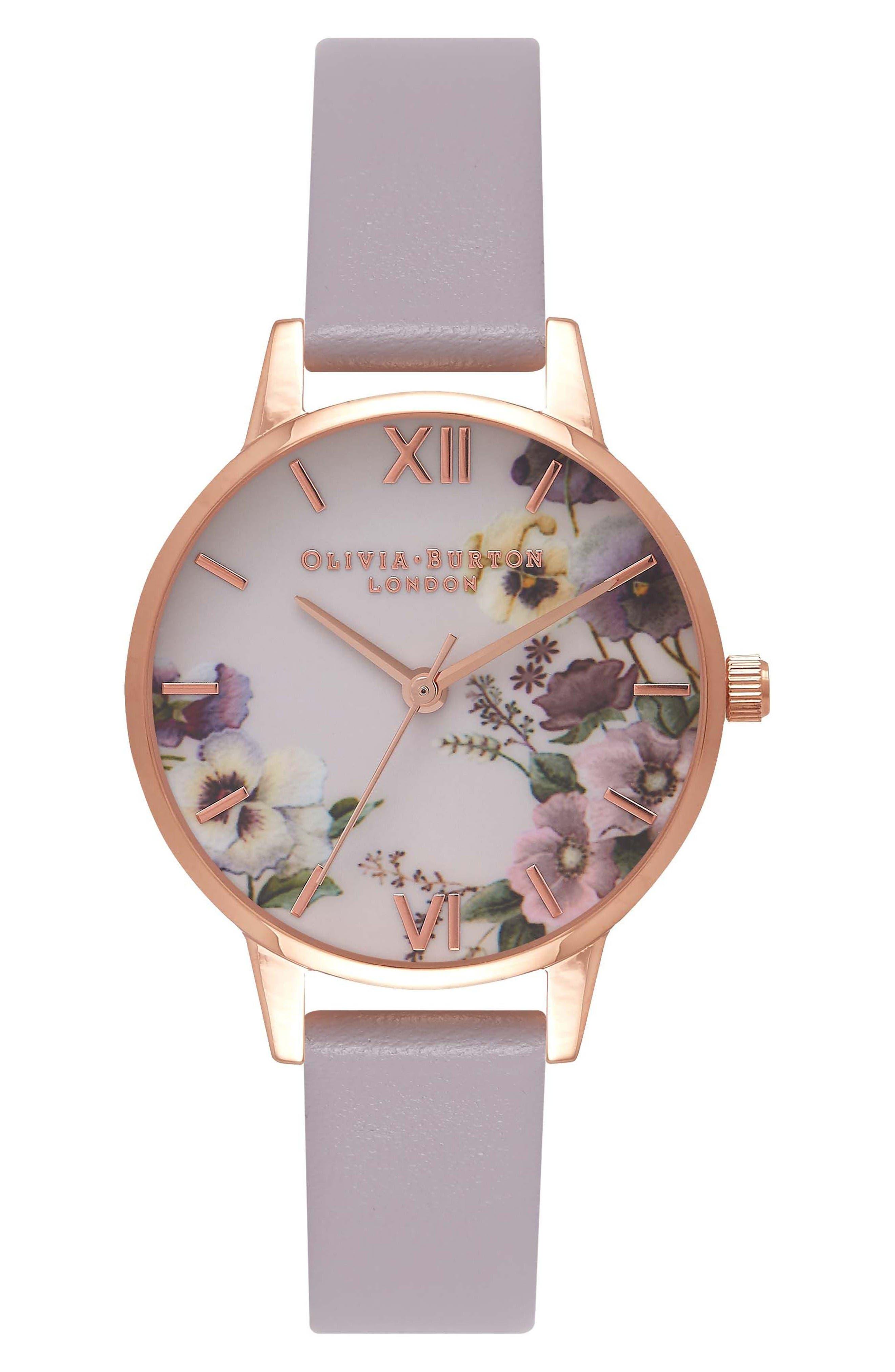 Alternate Image 1 Selected - Olivia Burton Begin to Blush Leather Strap Watch, 30mm