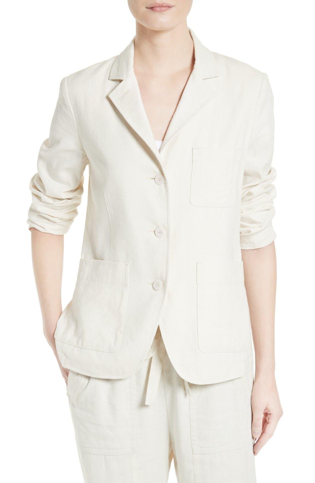 Vince Linen & Silk Three Button Blazer