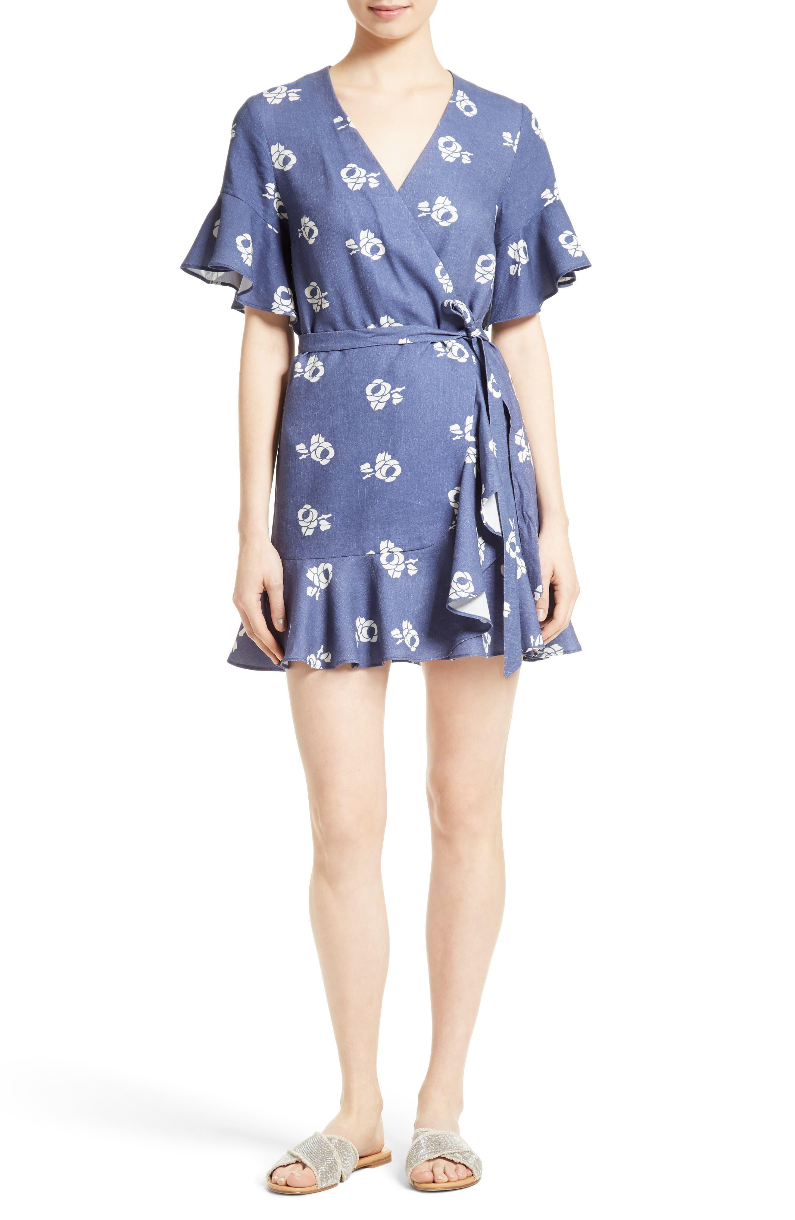 SEA Floral Print Ruffle Wrap Dress