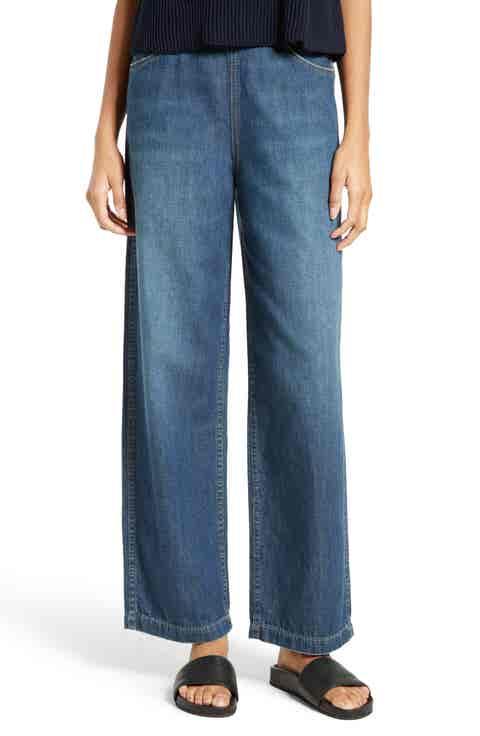 Vince High Waist Side Zip Wide Leg Ankle Jeans