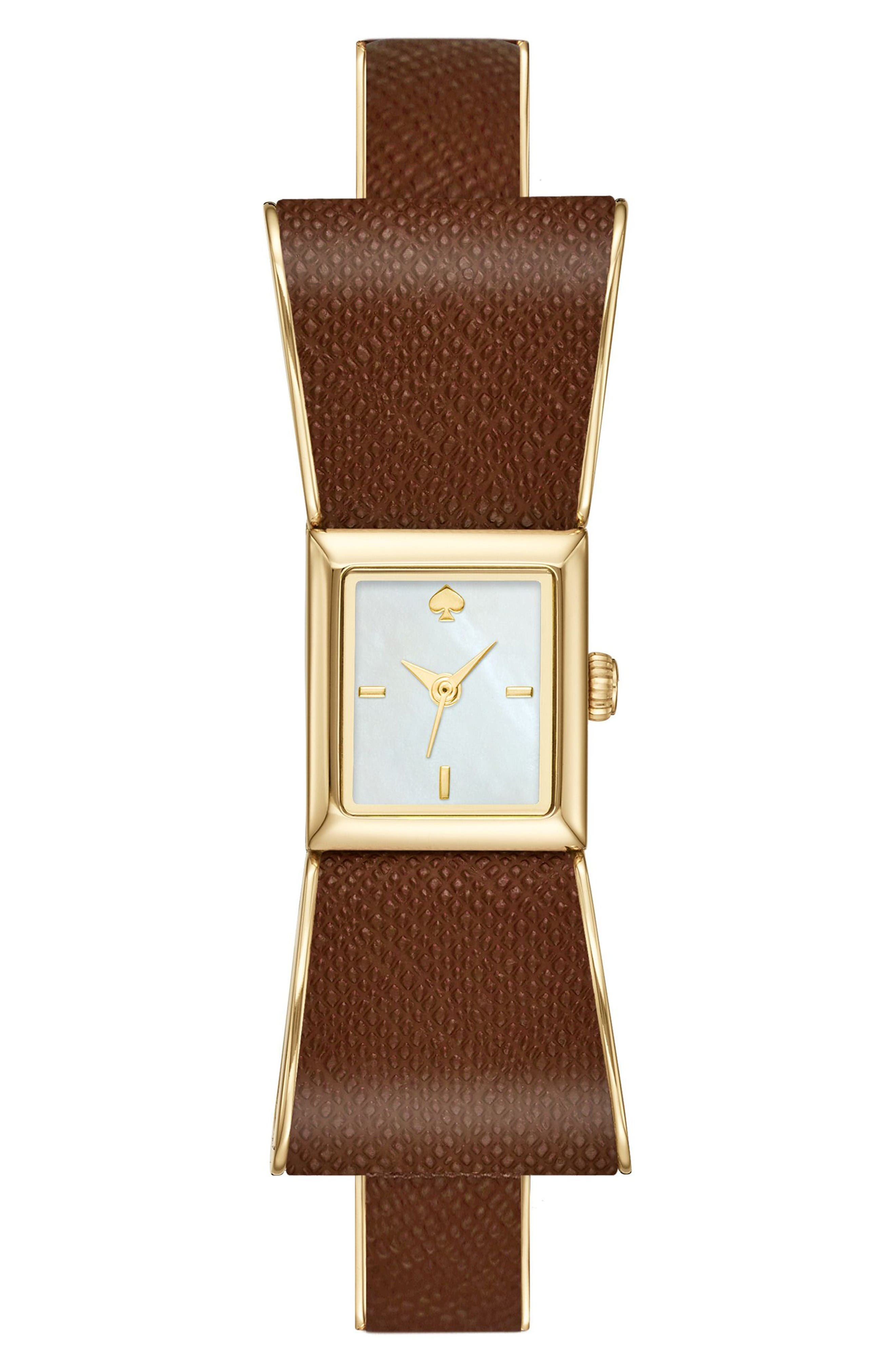 kate spade new new york mother of pearl dial leather strap watch, 16mm