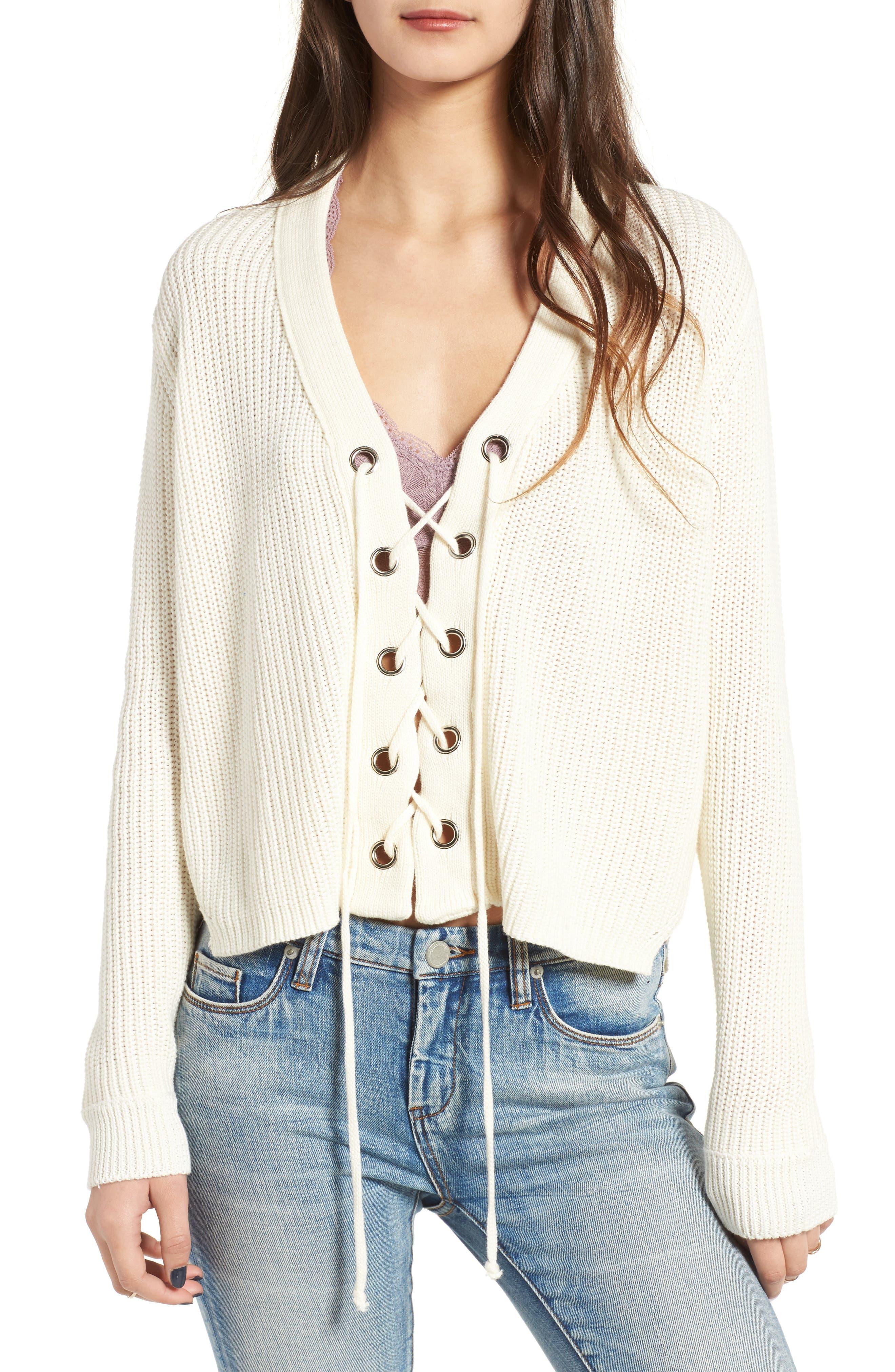 Main Image - Lush Lace-Up Sweater
