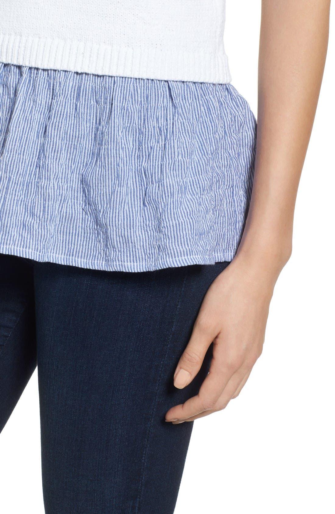 Alternate Image 4  - MICHAEL Michael Kors Contrast Hem Cotton Blend Sweater