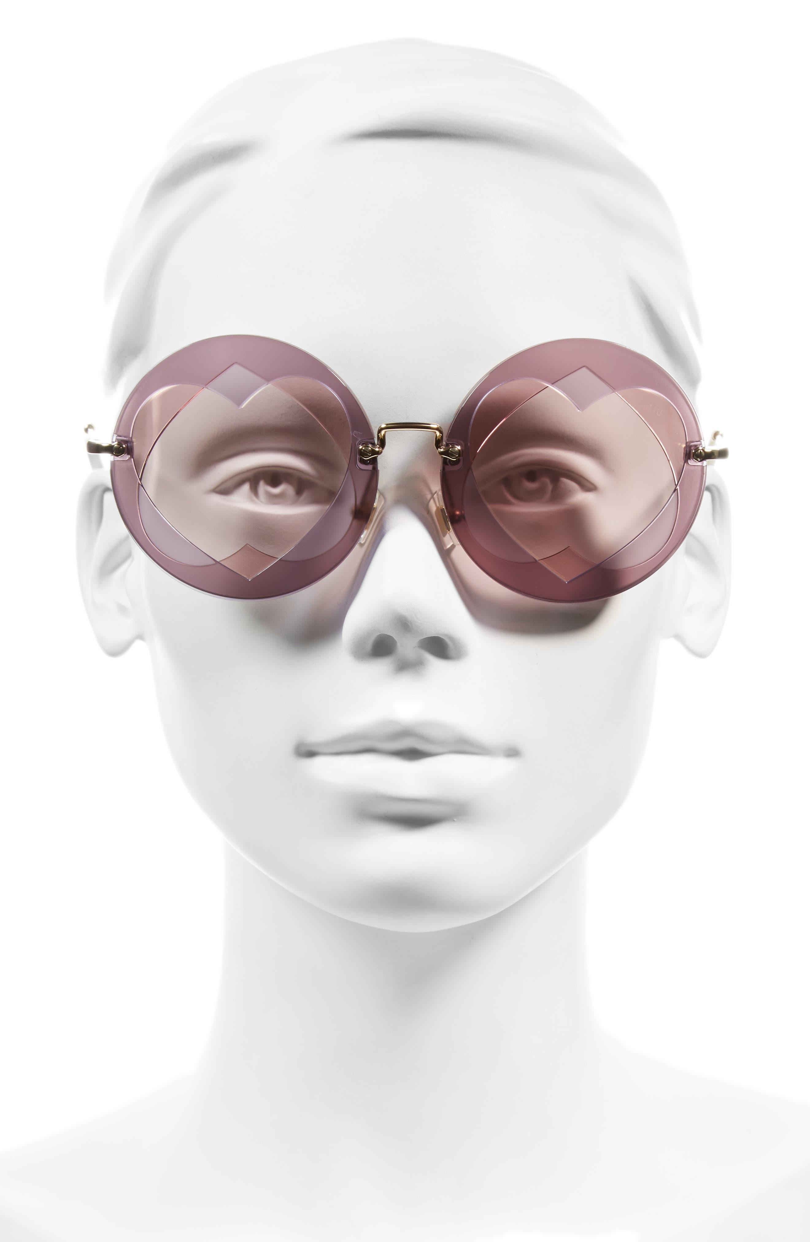Alternate Image 2  - Miu Miu 62mm Heart Inset Round Sunglasses