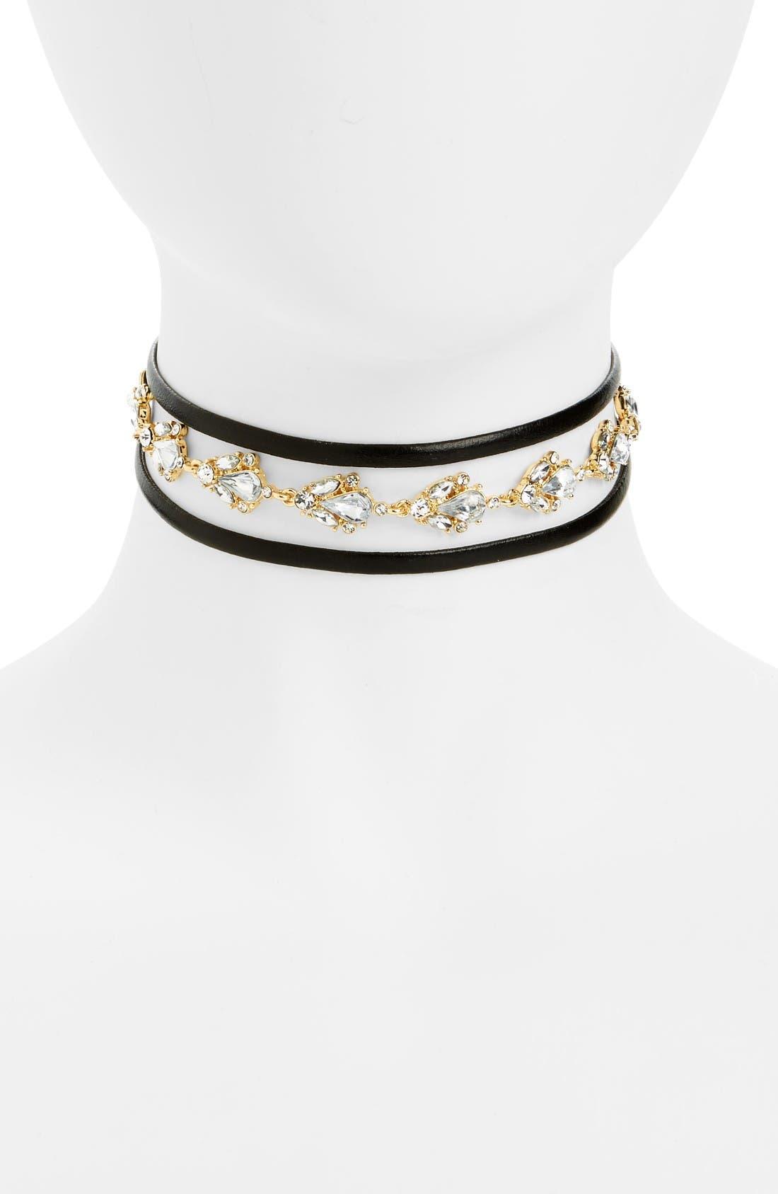 LOREN OLIVIA Crystal Embellished Faux Leather Wrap Choker