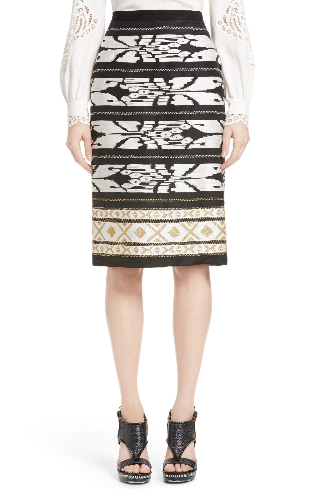 OSCAR DE LA RENTA Ikat Embroidered Pencil Skirt