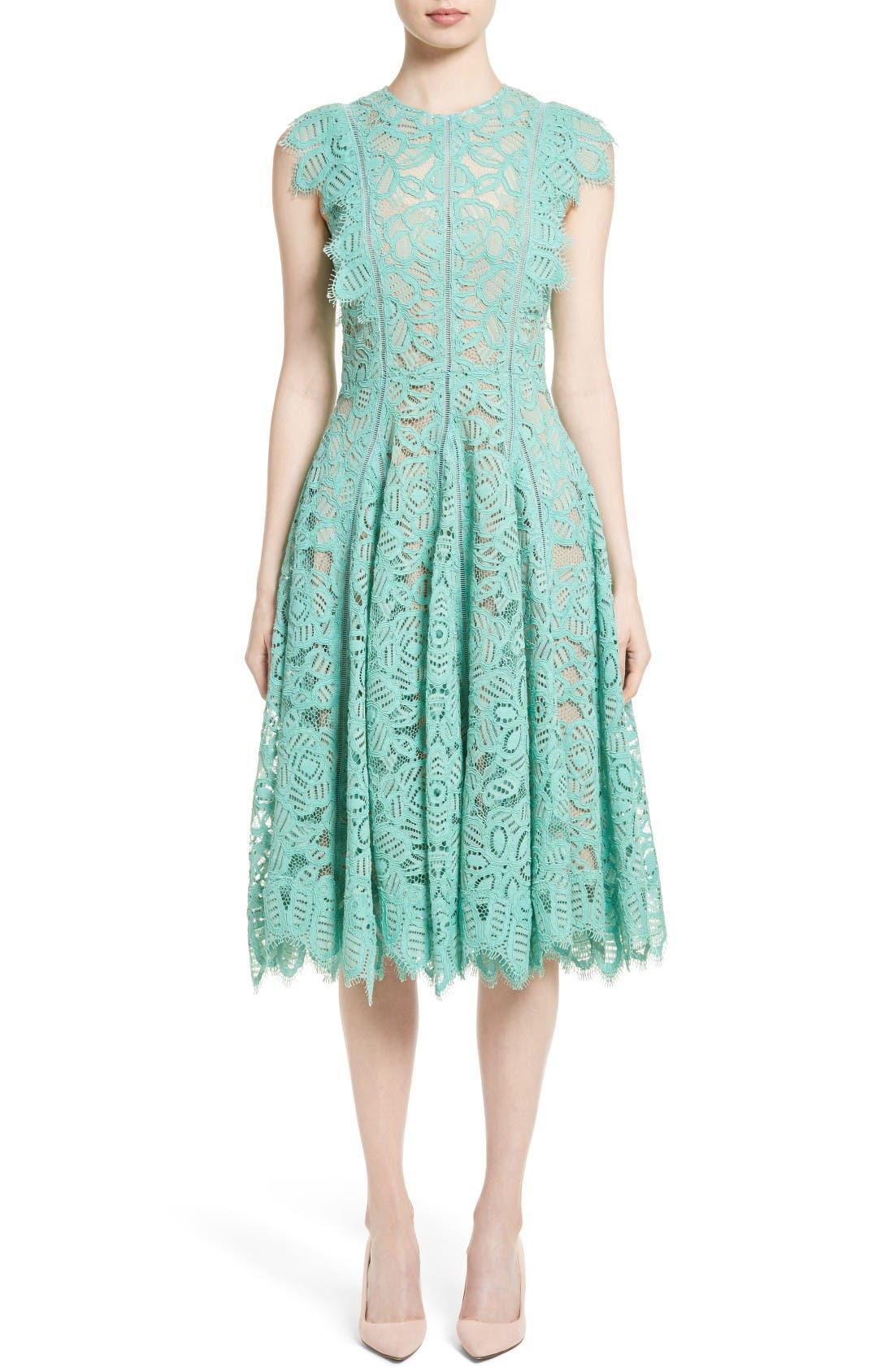 LELA ROSE Lace Fit & Flare Dress