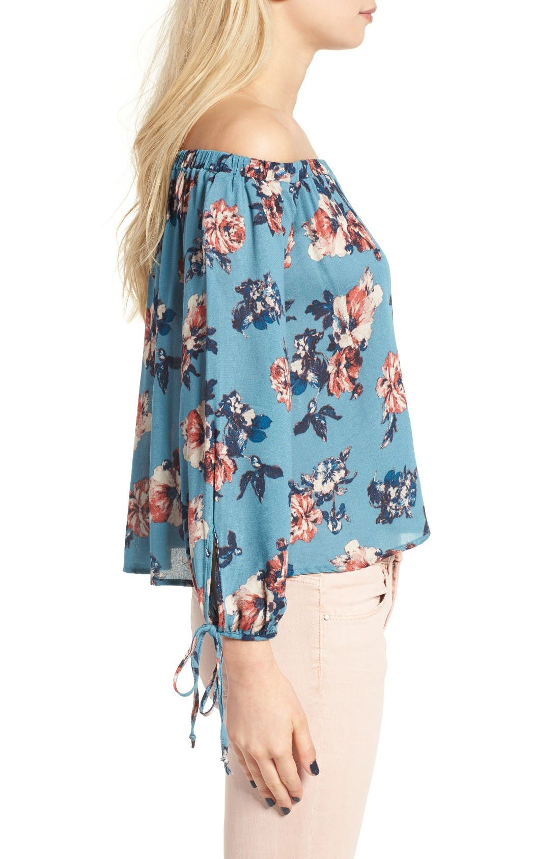 Alternate Image 3  - Lush Floral Print Off the Shoulder Blouse