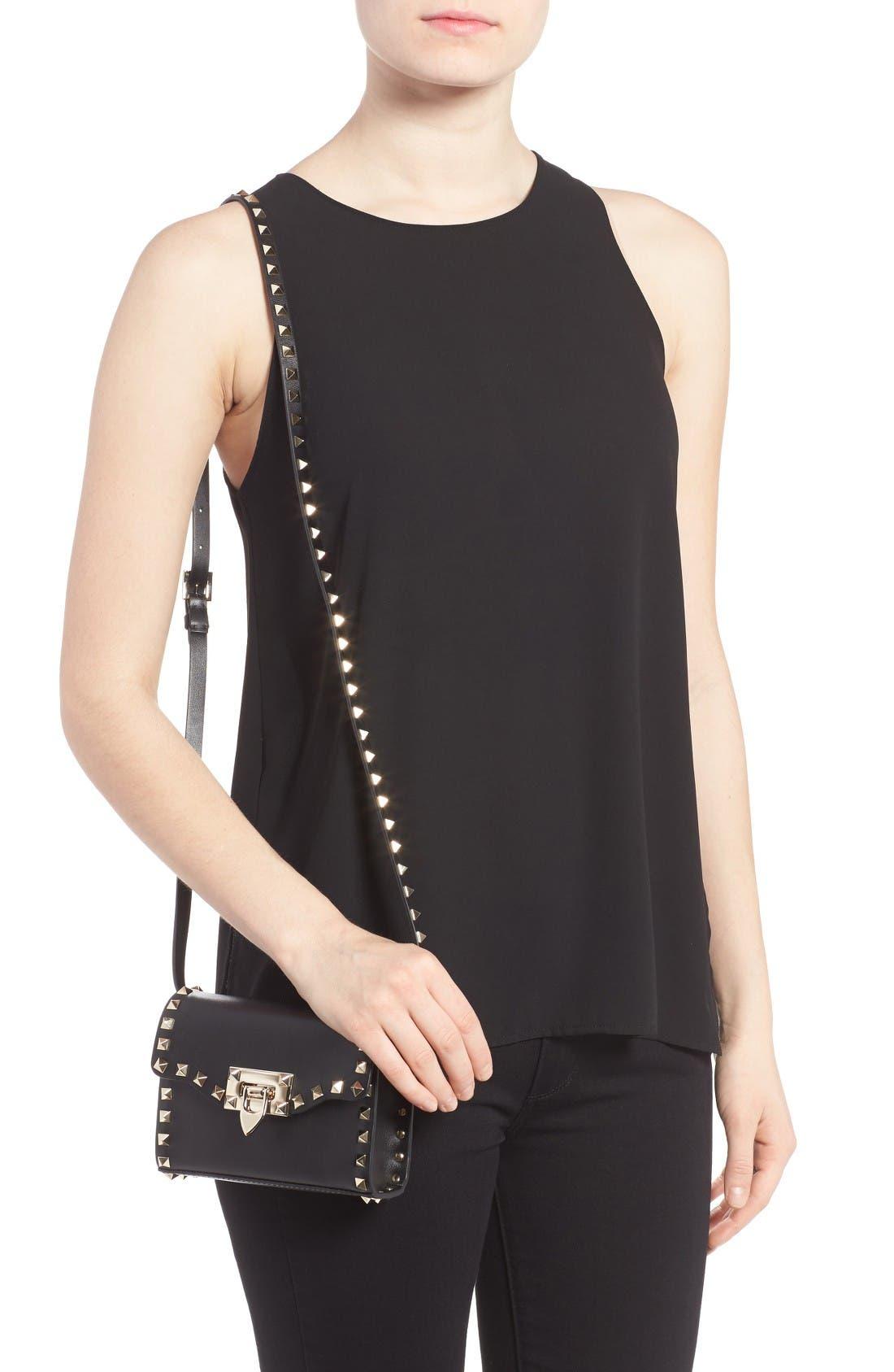 Alternate Image 2  - Valentino Small Rockstud Leather Shoulder Bag