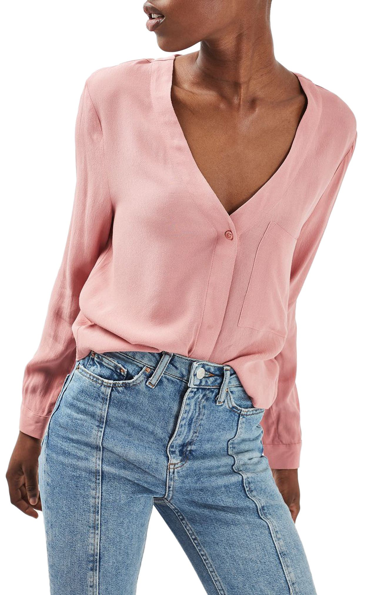 Main Image - Topshop Crop Slouch Pocket Blouse