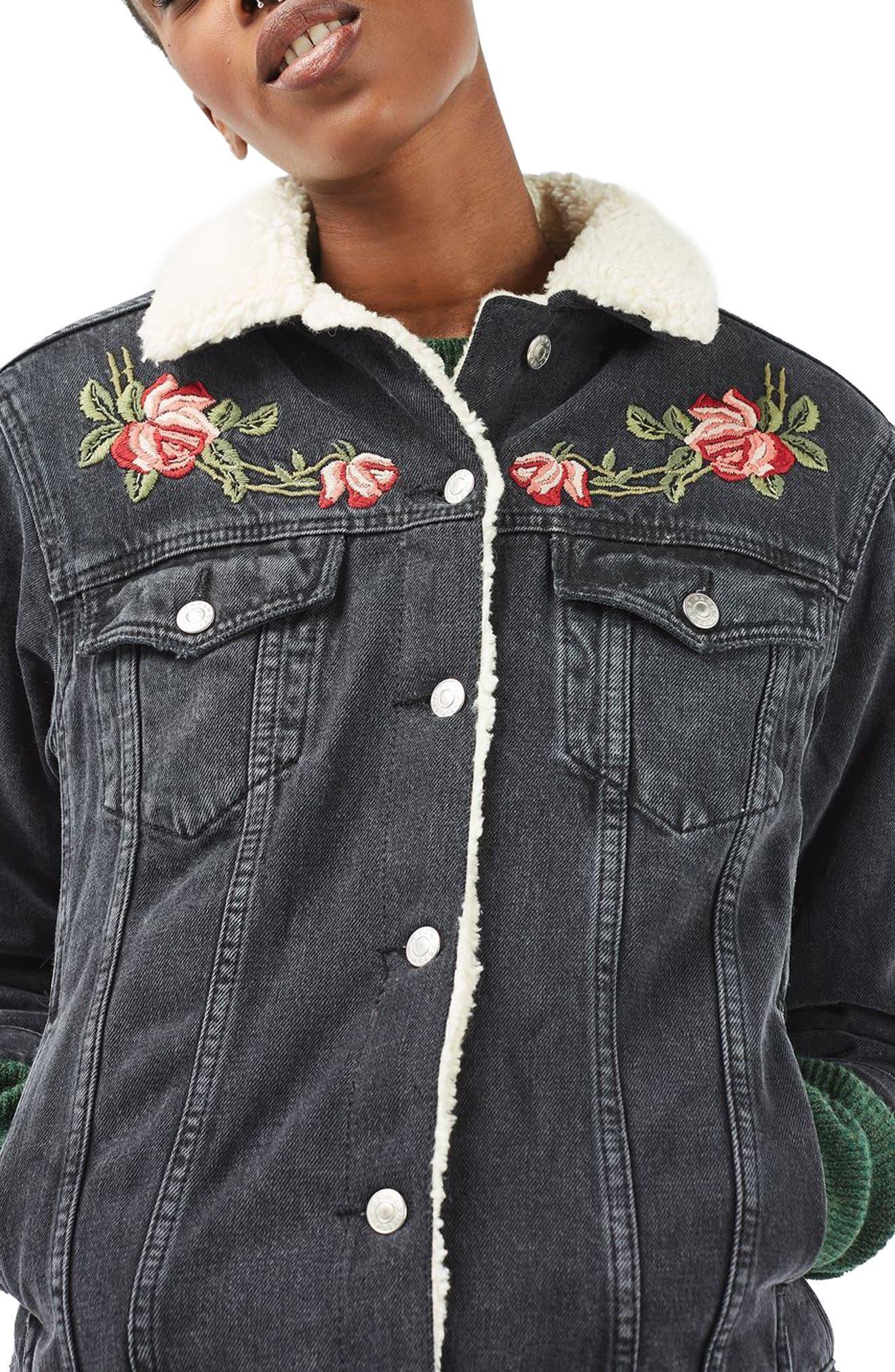 Alternate Image 1 Selected - Topshop Embroidered Borg Denim Jacket