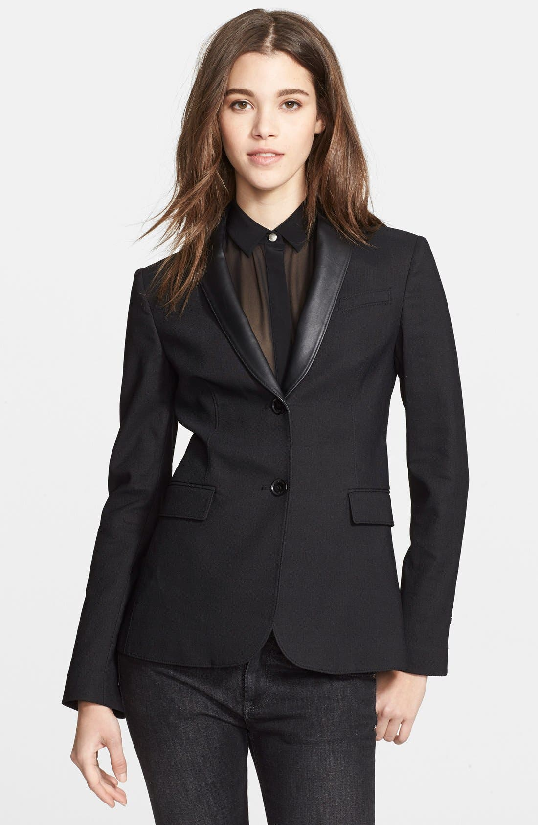 Alternate Image 1 Selected - Burberry Brit 'Wicksby' Leather Lapel Jacket