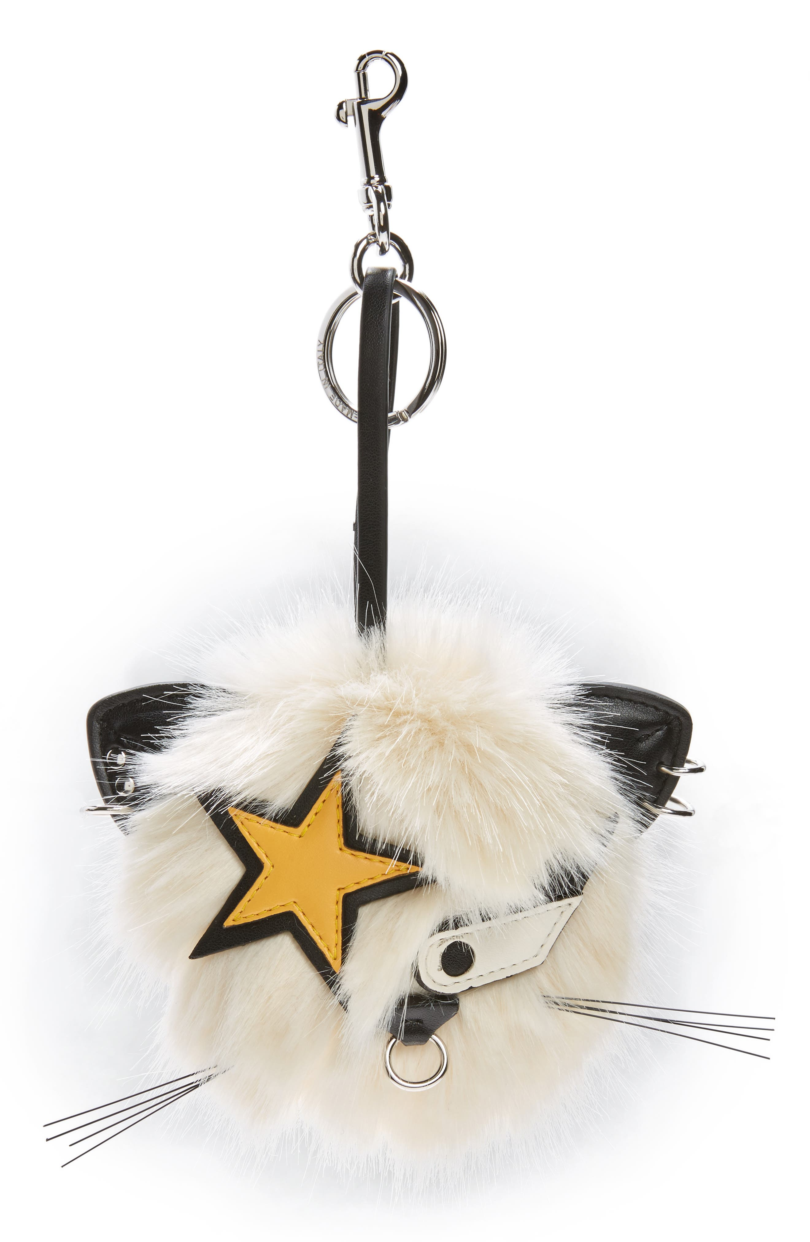 Main Image - Stella McCartney Cat Star Patch Faux Fur Bag Charm