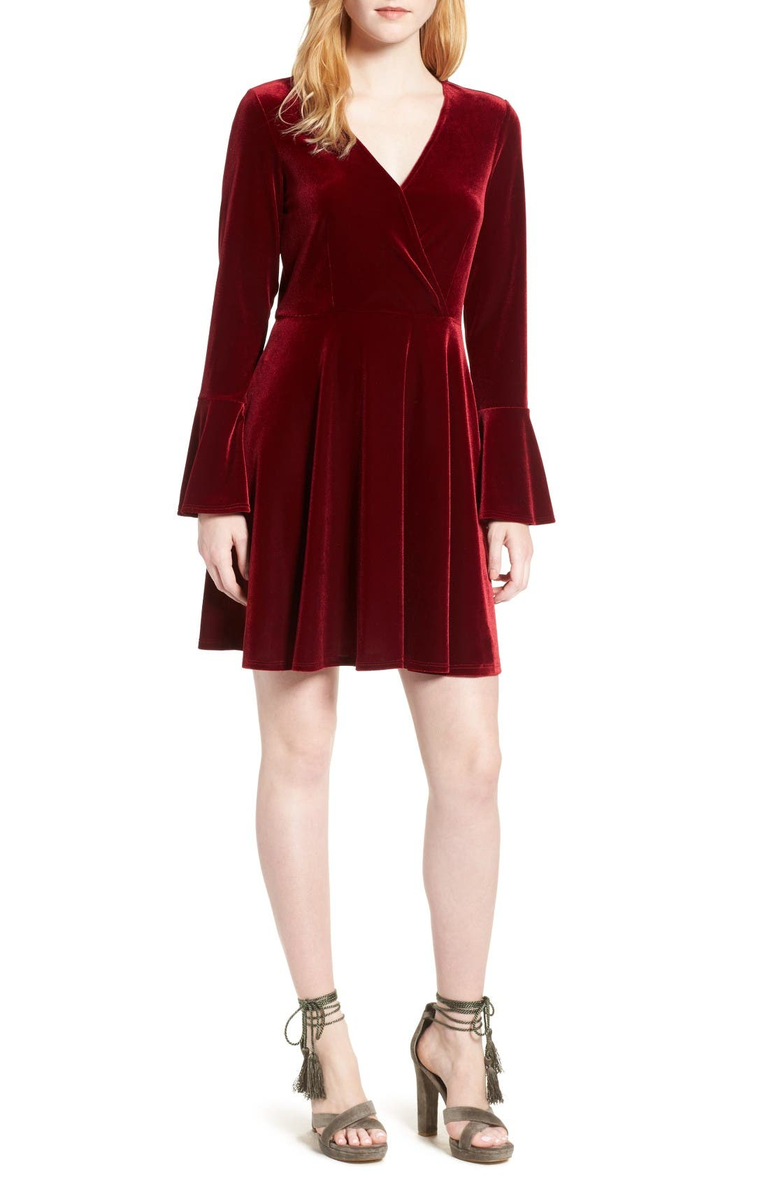 Main Image - Willow & Clay Faux Wrap Velvet Dress
